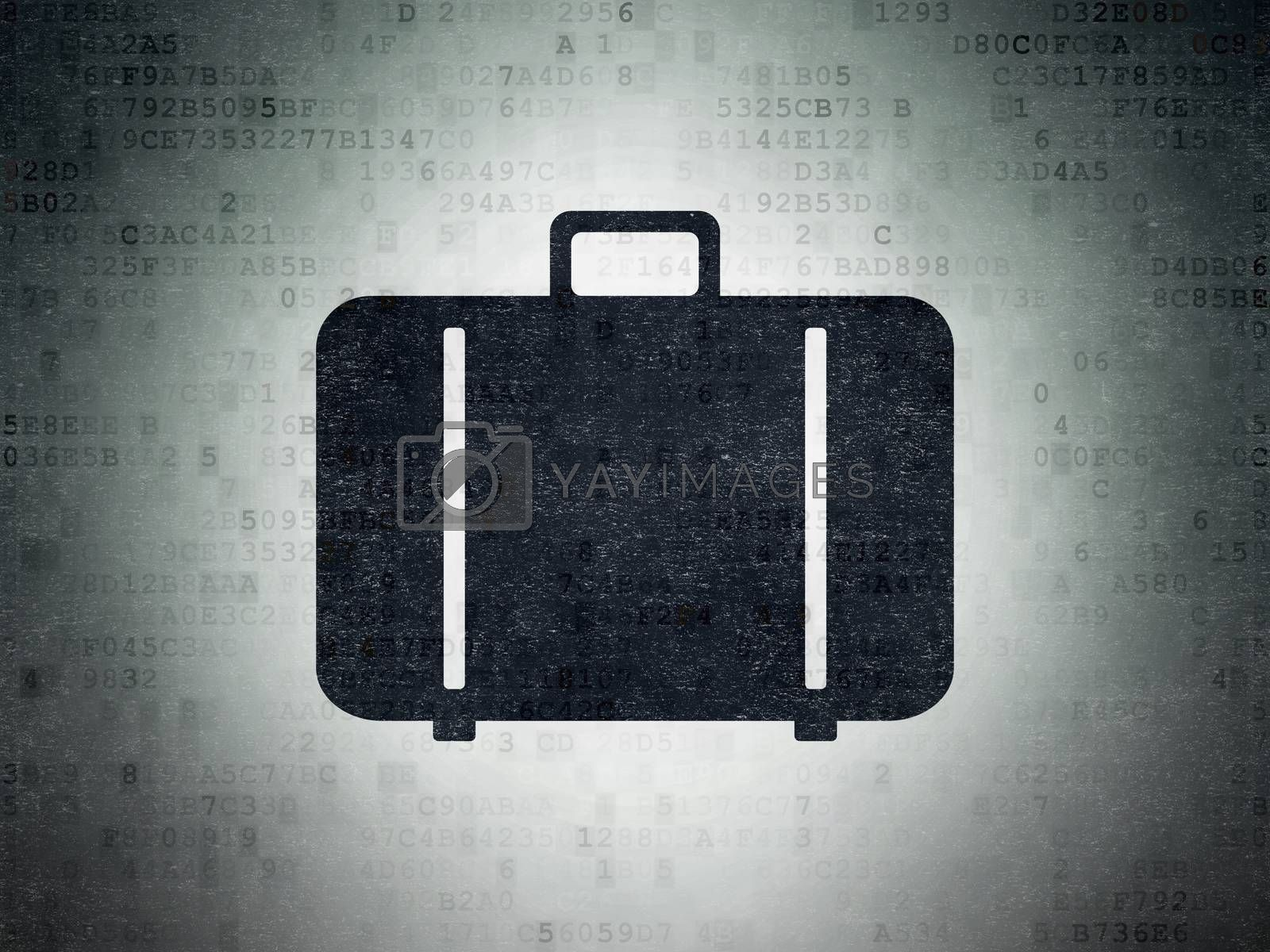 Tourism concept: Painted black Bag icon on Digital Data Paper background