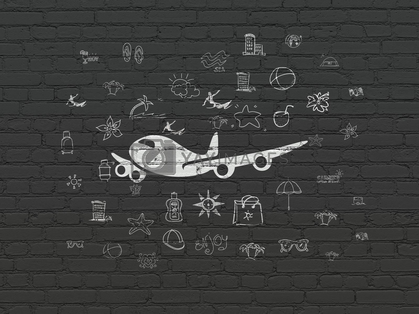 Tourism concept: Painted white Airplane icon on Black Brick wall background with  Hand Drawn Vacation Icons