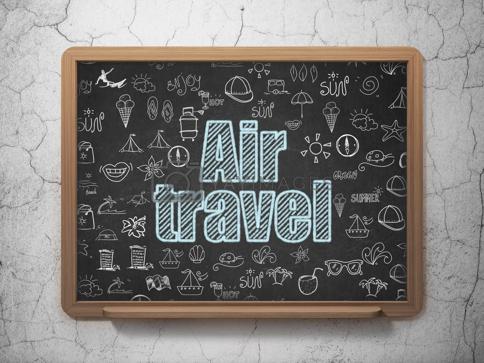 Vacation concept: Chalk Blue text Air Travel on School board background with  Hand Drawn Vacation Icons, 3D Rendering