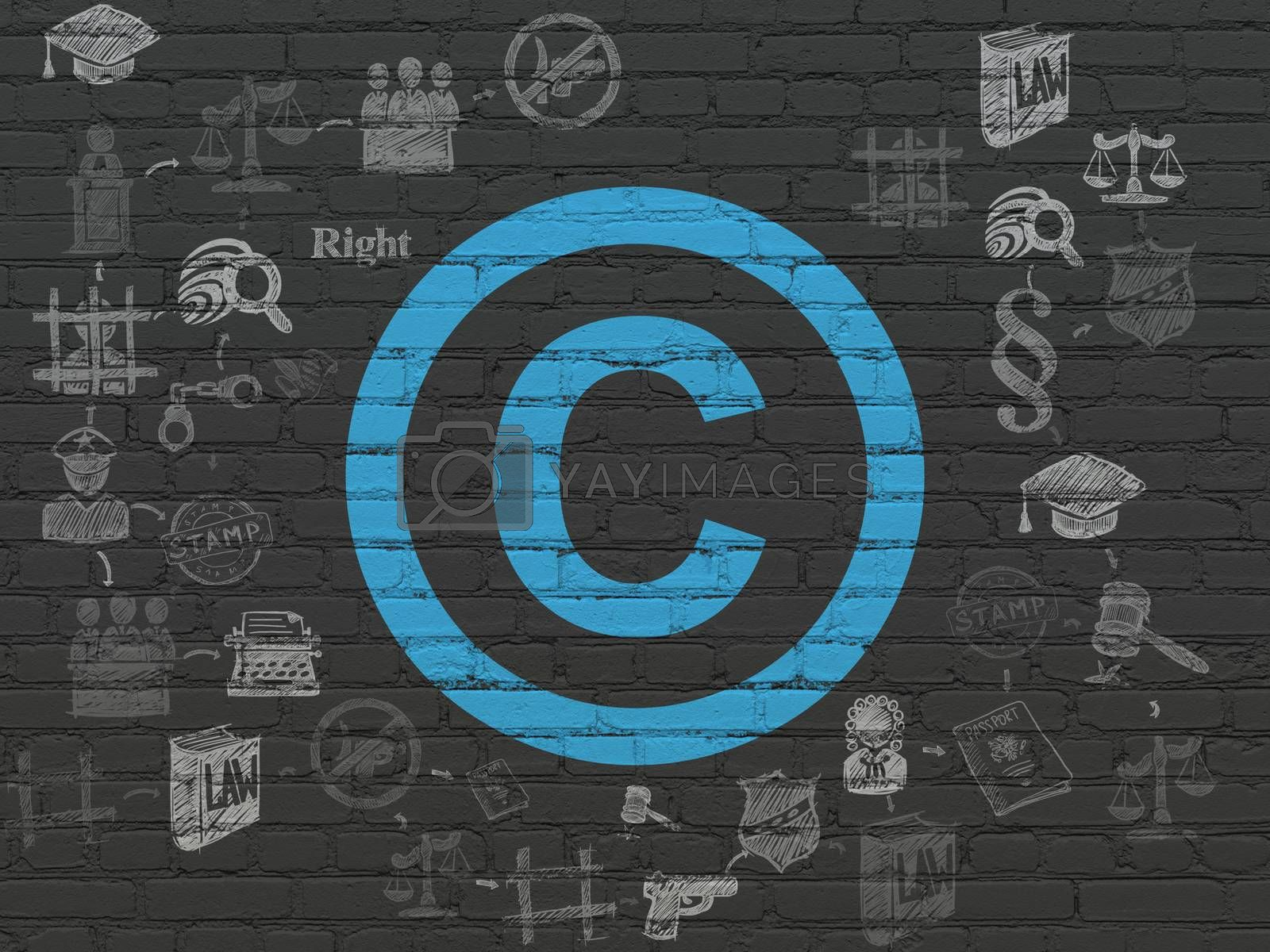 Law concept: Painted blue Copyright icon on Black Brick wall background with Scheme Of Hand Drawn Law Icons