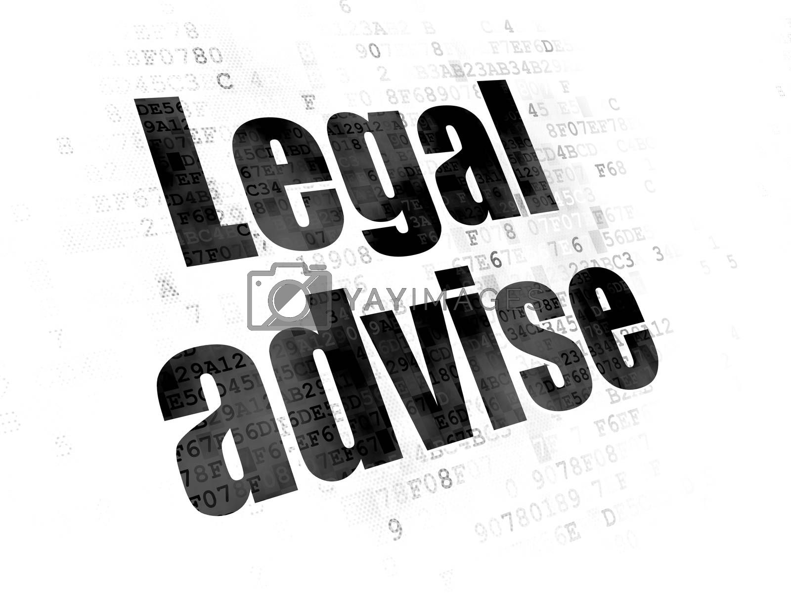 Law concept: Pixelated black text Legal Advise on Digital background