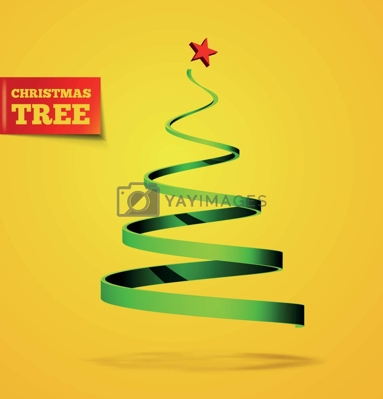 Christmas tree in the form of a ribbon with a shadow. Vector illustration