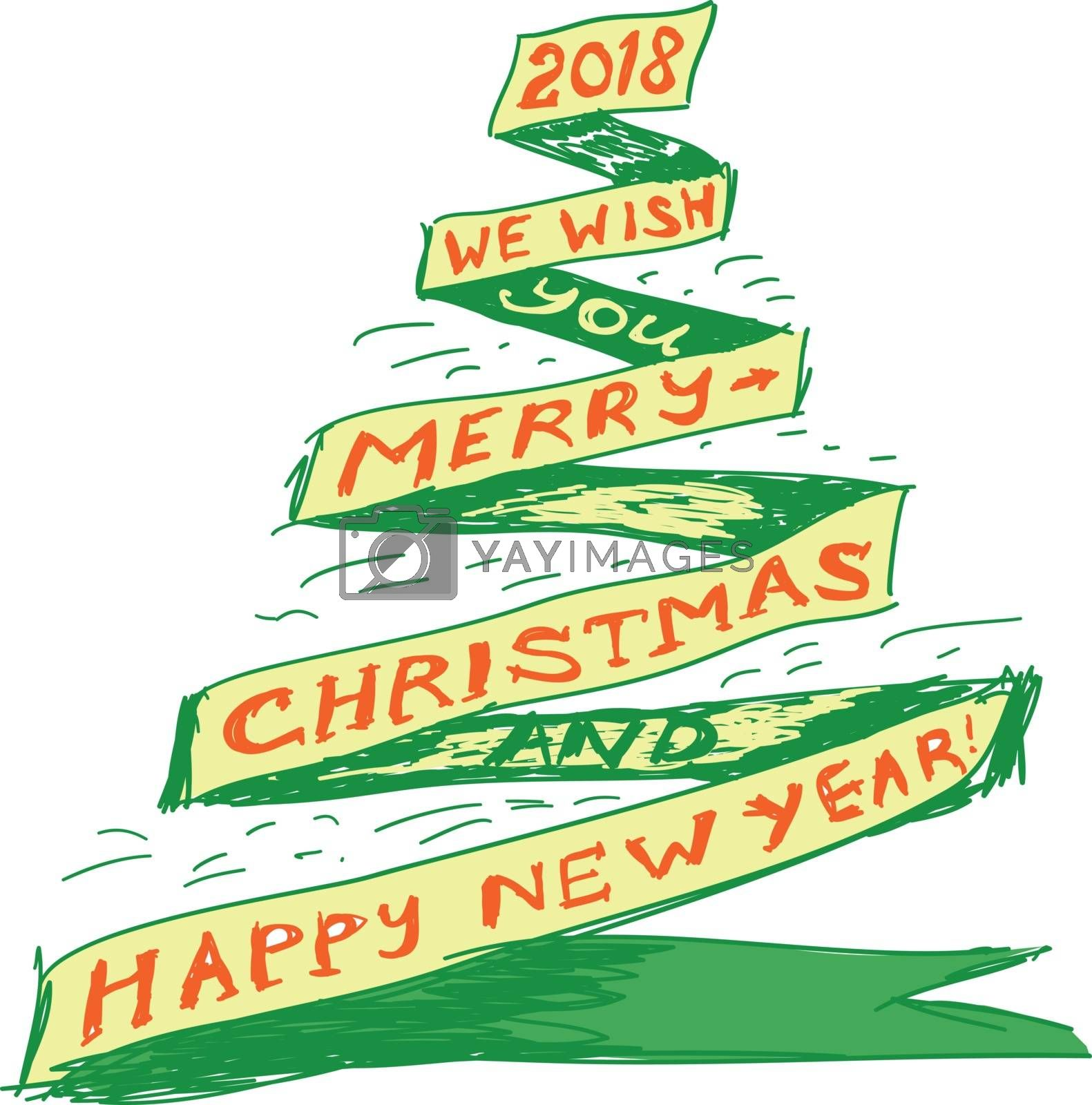 Christmas tree in the form of a ribbon drawn by a pen on paper. Vector illustration