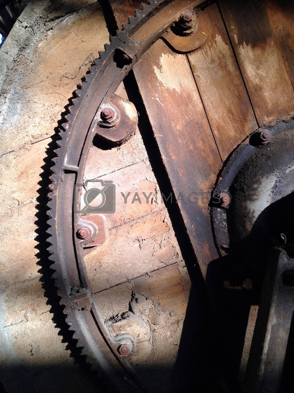 detail of Rusty cogwheels in shadow