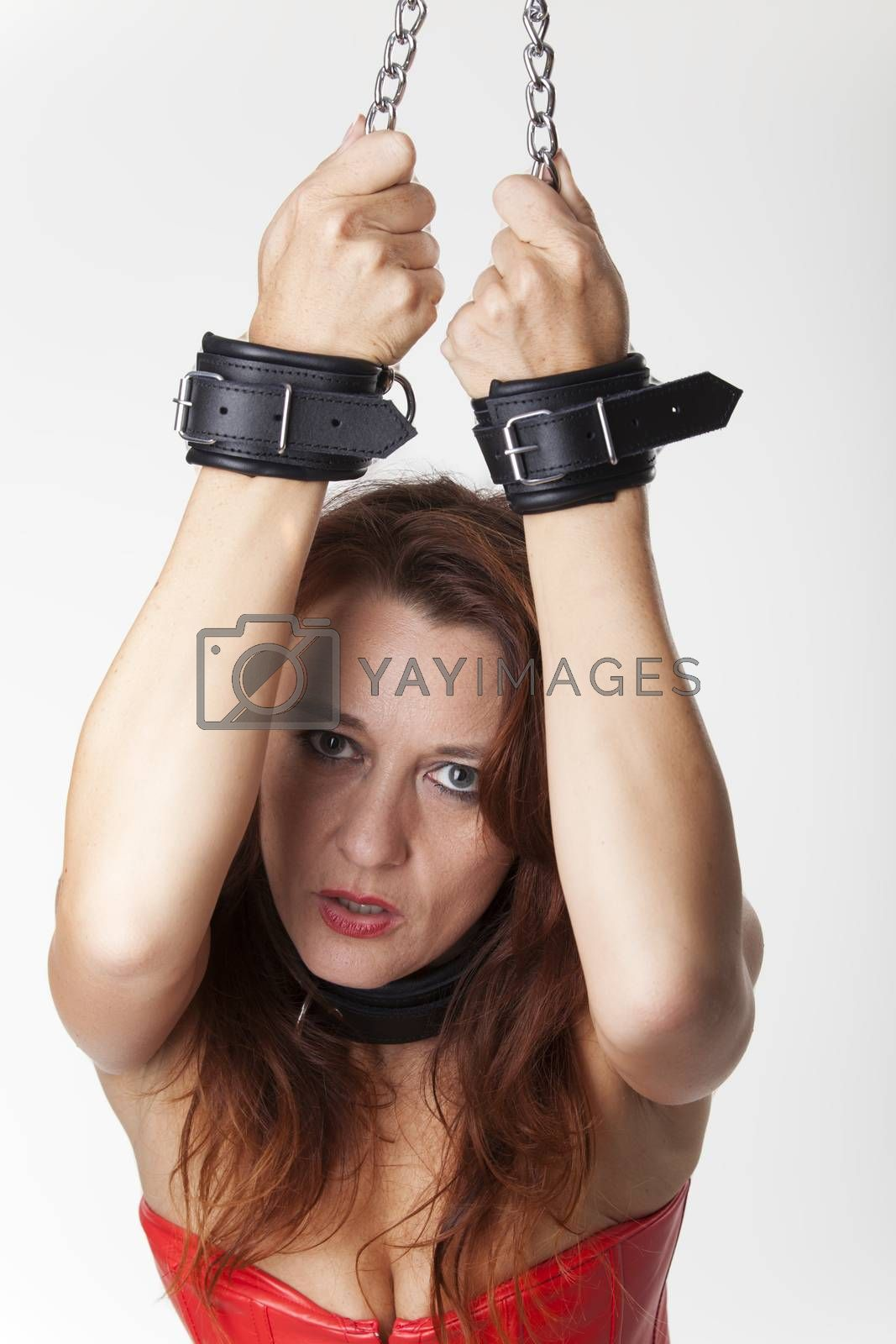 bound standing woman on white