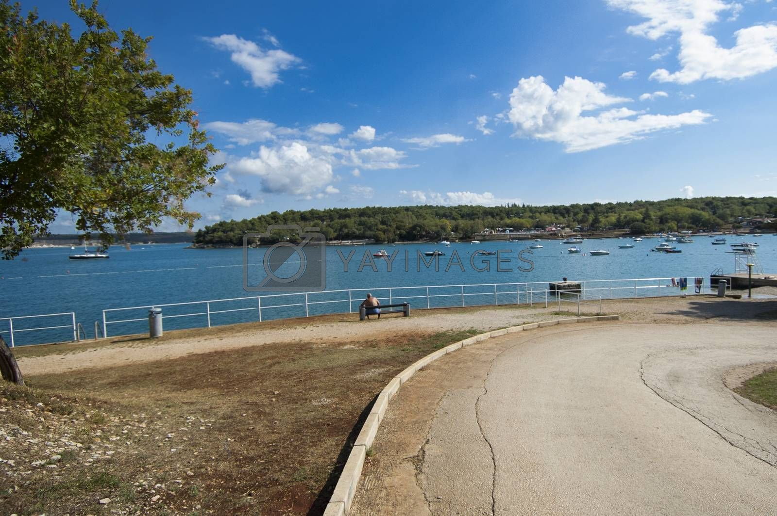 panoramic view of a beach in Porec