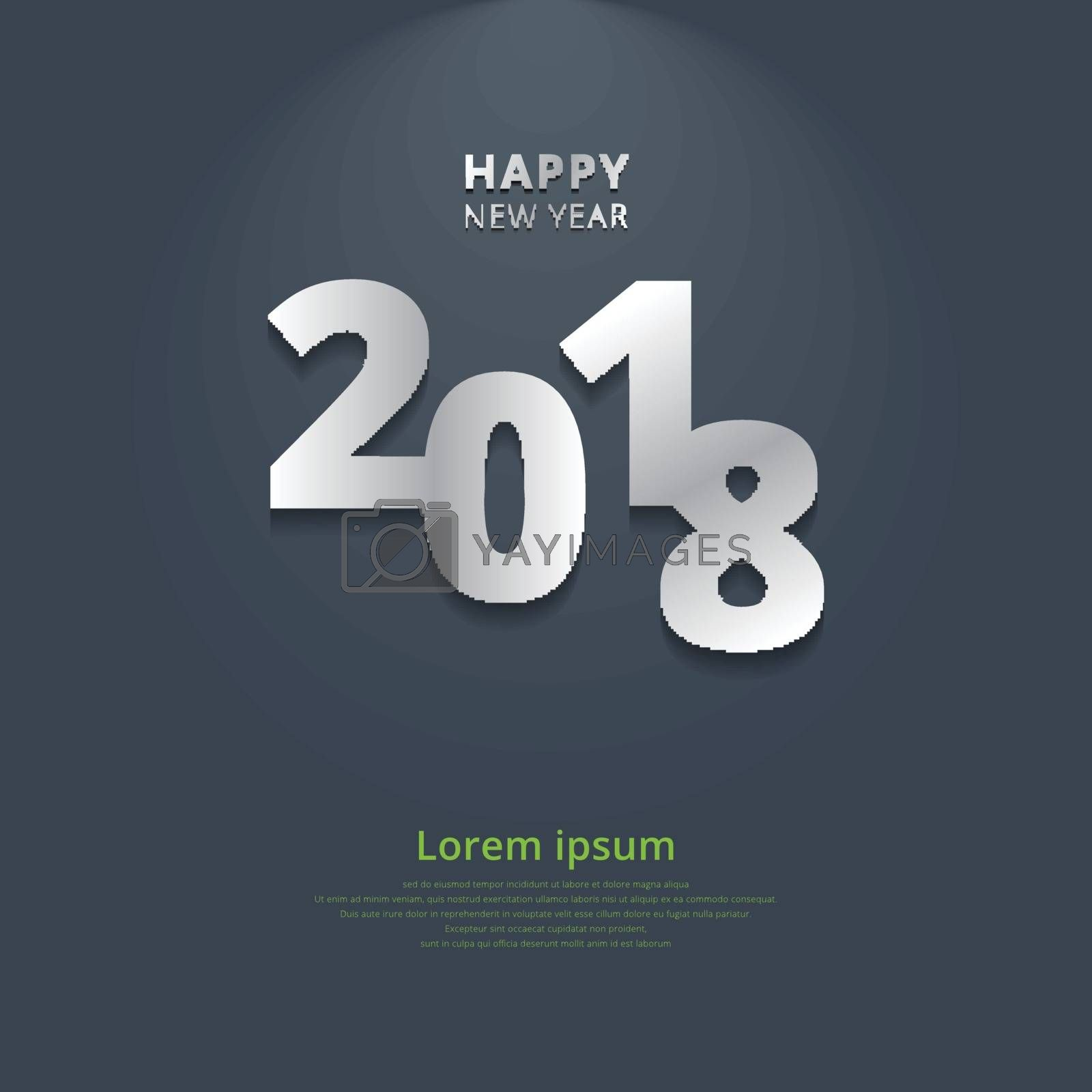 Happy new year 2018 with lighting on gray background. Vector illustration