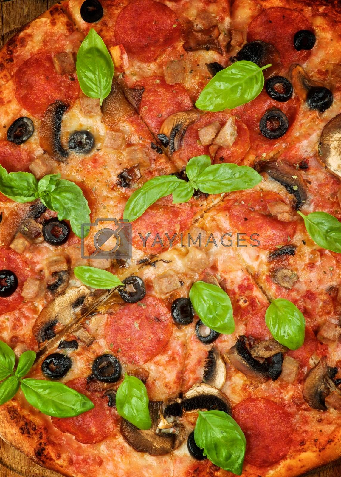 Background of Freshly Baker Pepperoni and Mushrooms Pizza with Basil closeup
