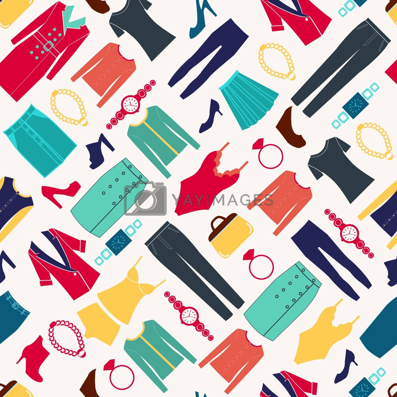 Vector Fashion women seamless pattern with Clothes and accessories Fashion icon set.
