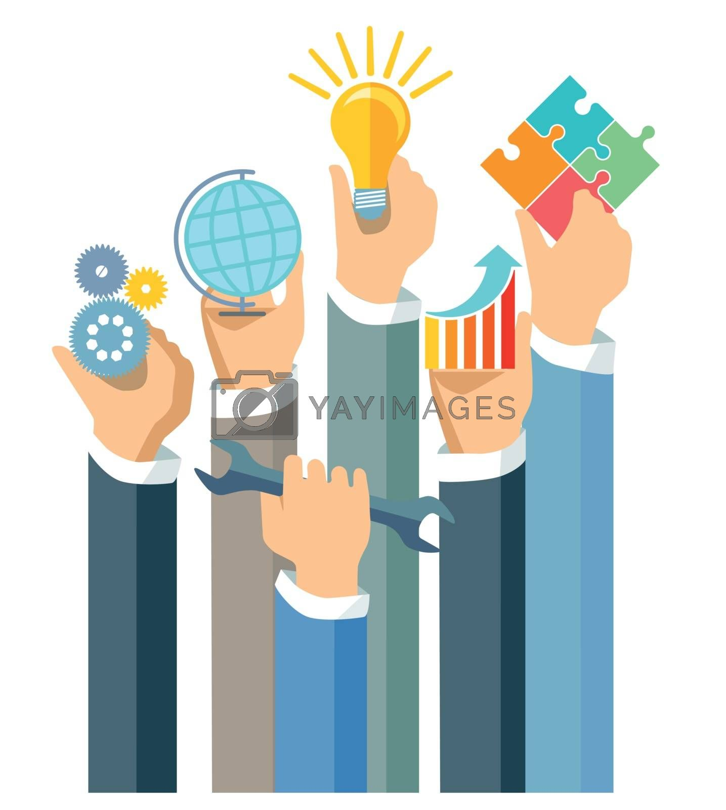 Showing business performance, illustration