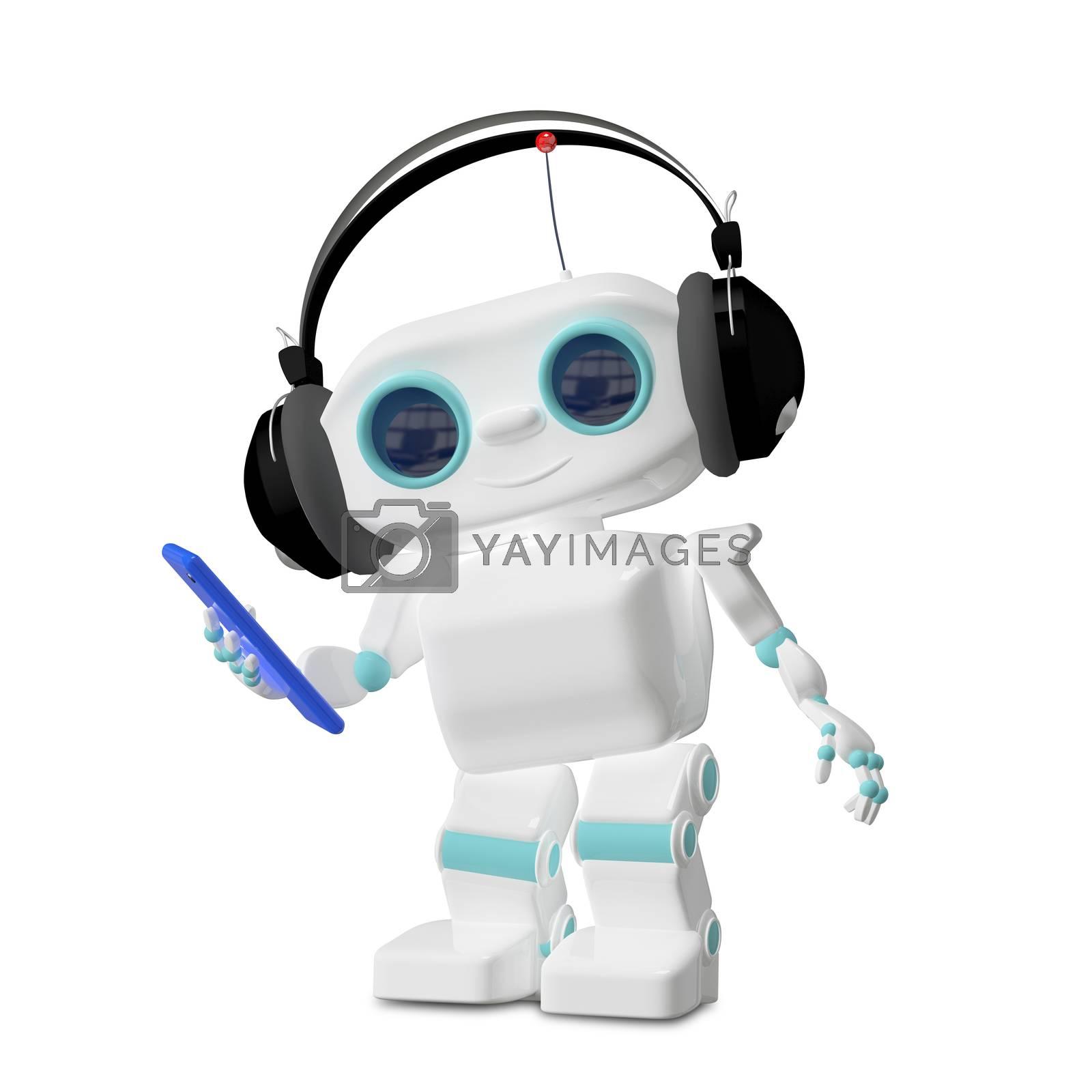 3D Illustration of the Little Robot Dances in the Headphones