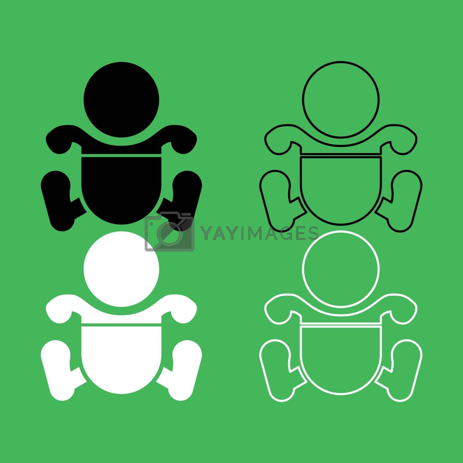 Toddler boy with diapers icon . Black and white color set .