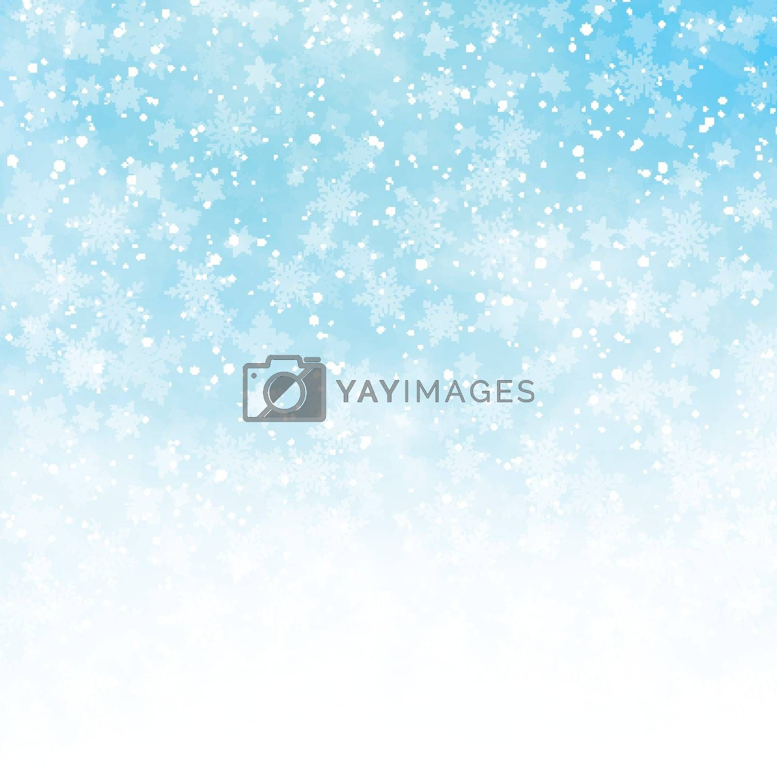 Winter white and blue sky background christmas made of snowflakes and snow with blank copy space for your text, Vector illustration