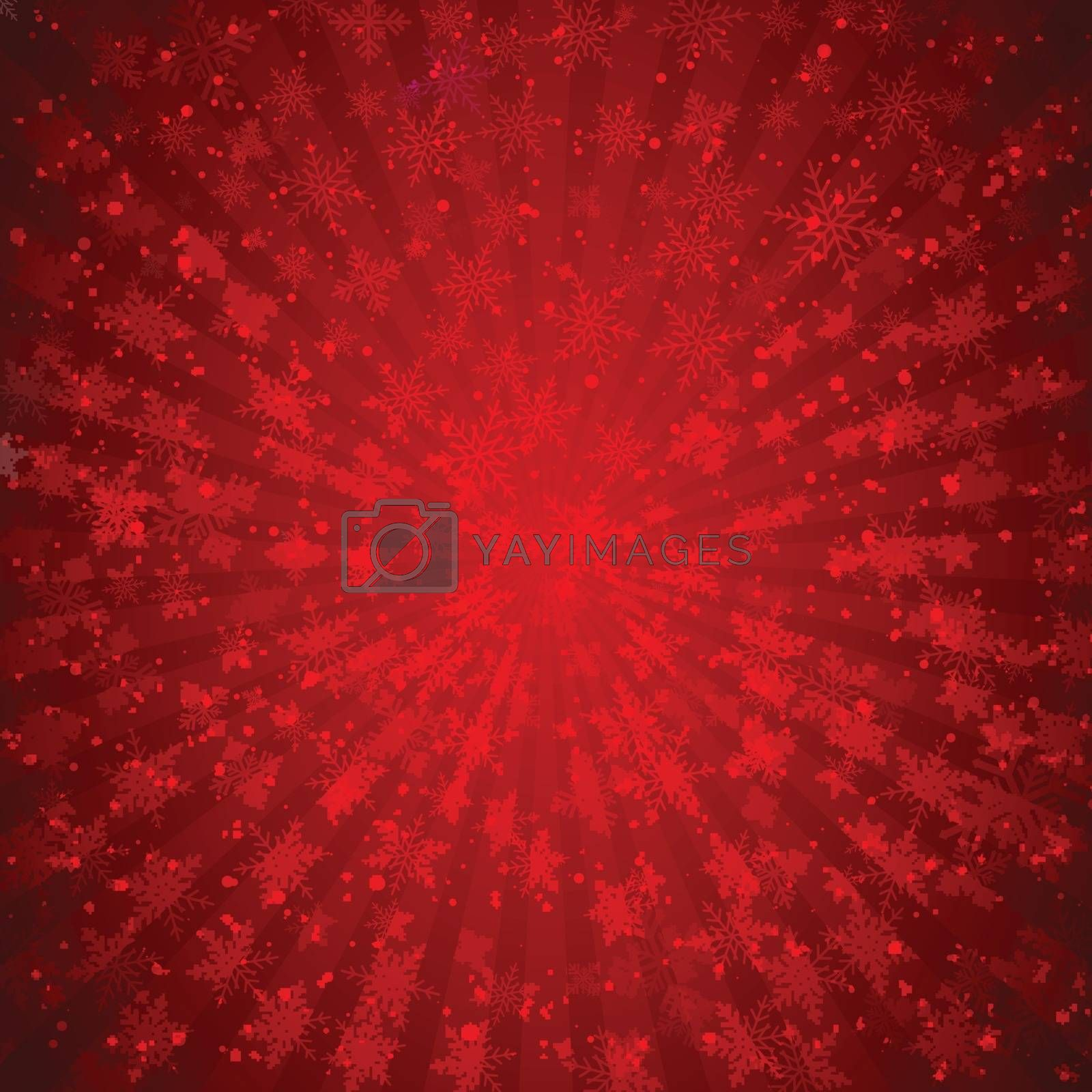 Winter red background christmas made of snowflakes and snow with blank copy space for your text, Vector illustration