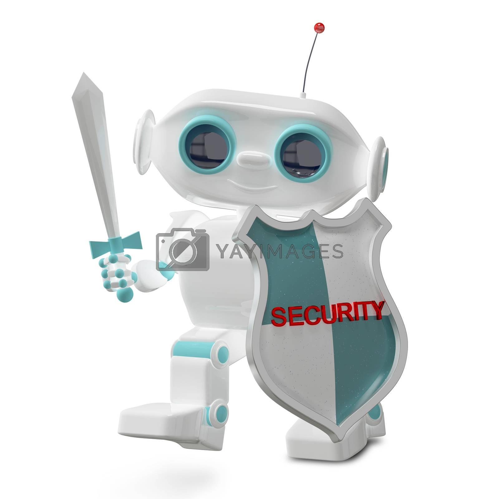 3D Illustration Security Little Robot on White Background