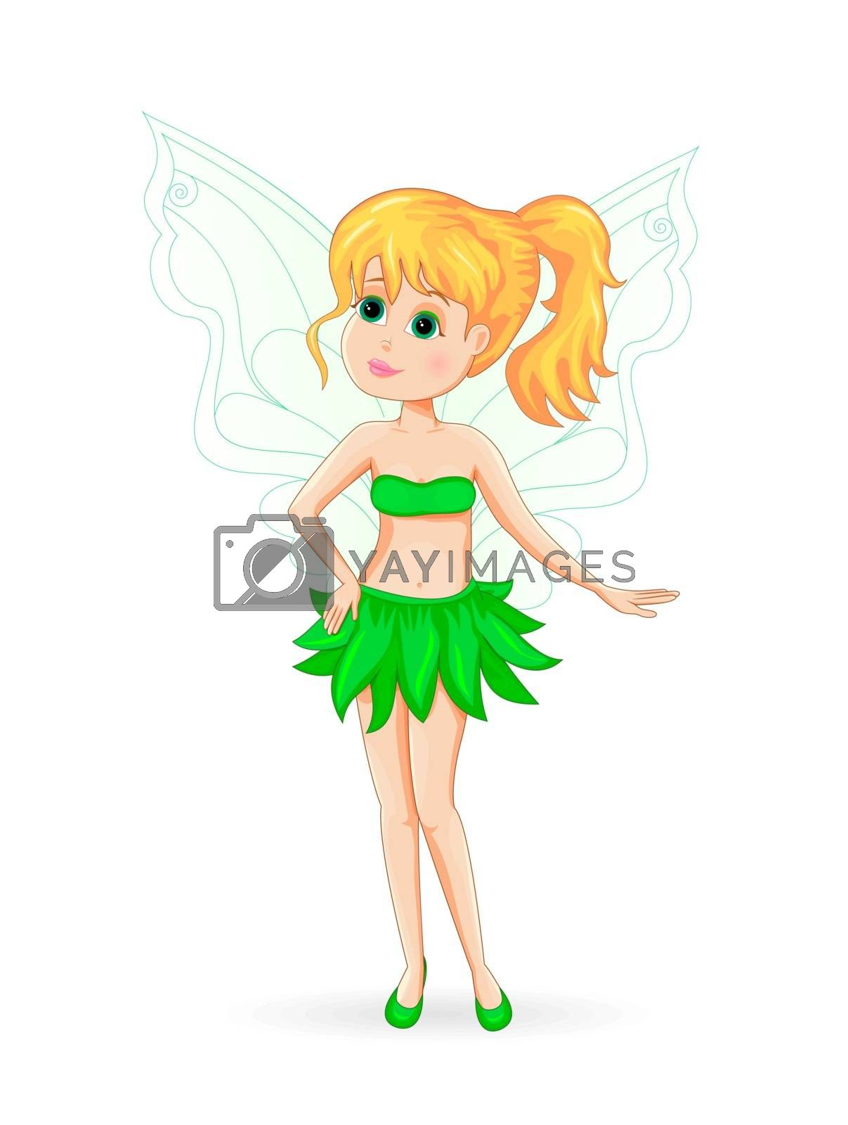 Green fairy. Cute fairy on a white background.