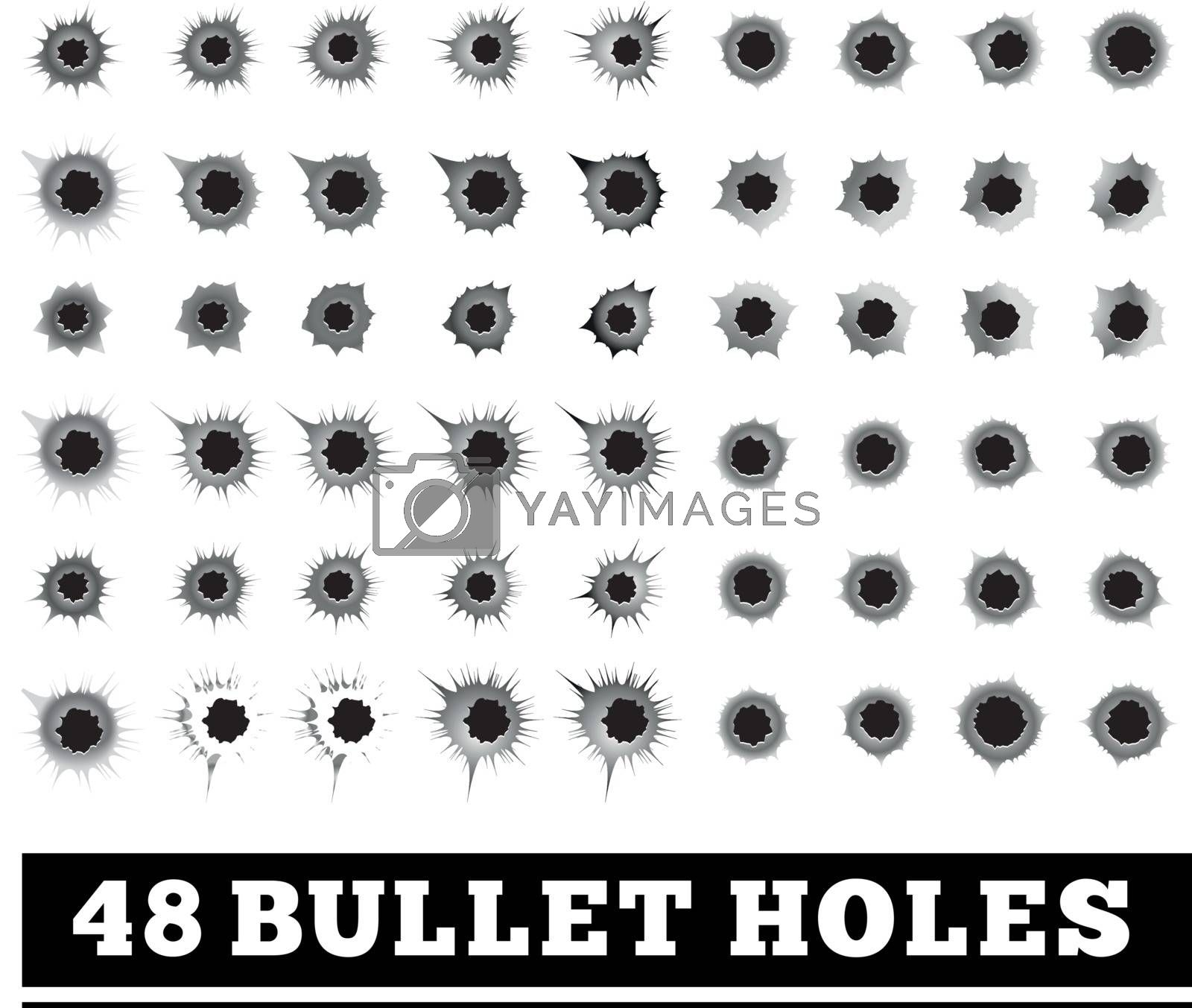 Bullet holes vector illustration on white background.