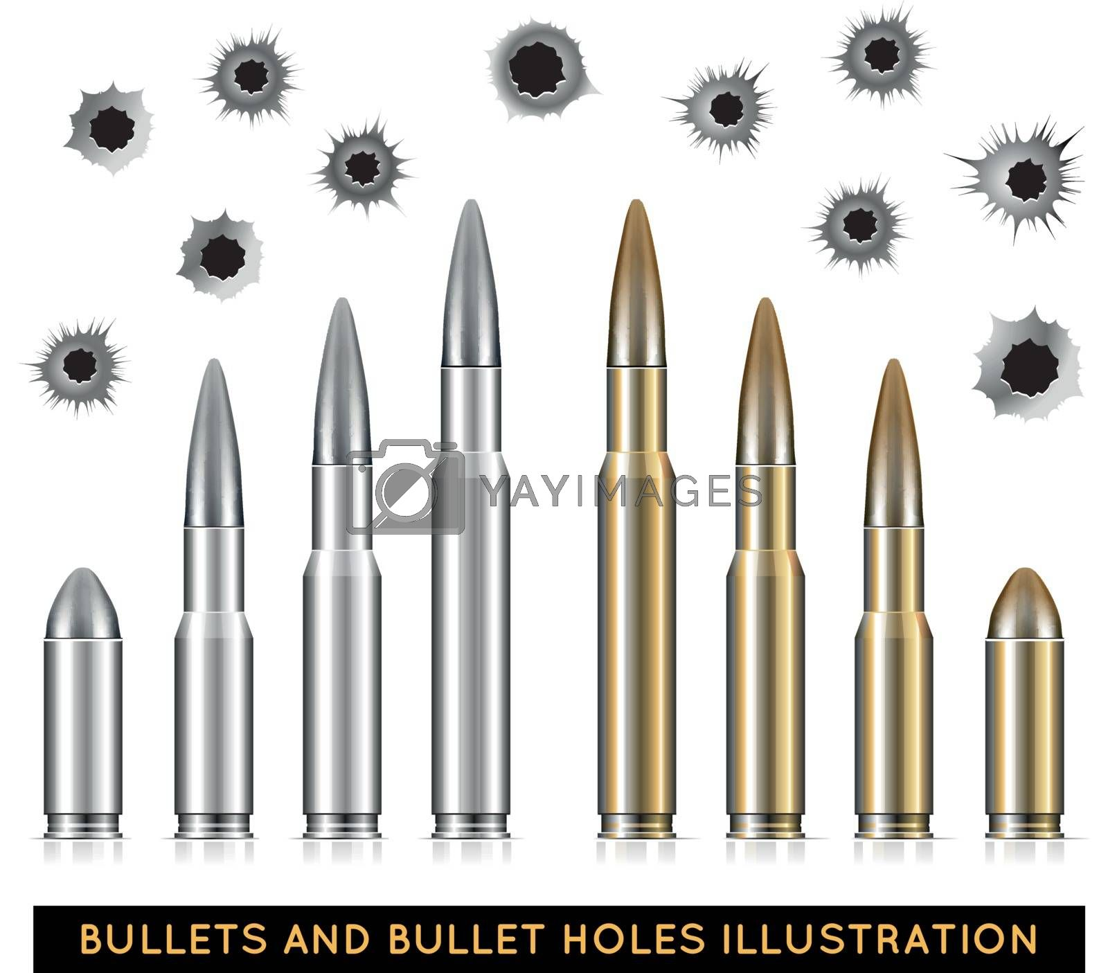 Bullets and bullet holes. Vector illustration on white background