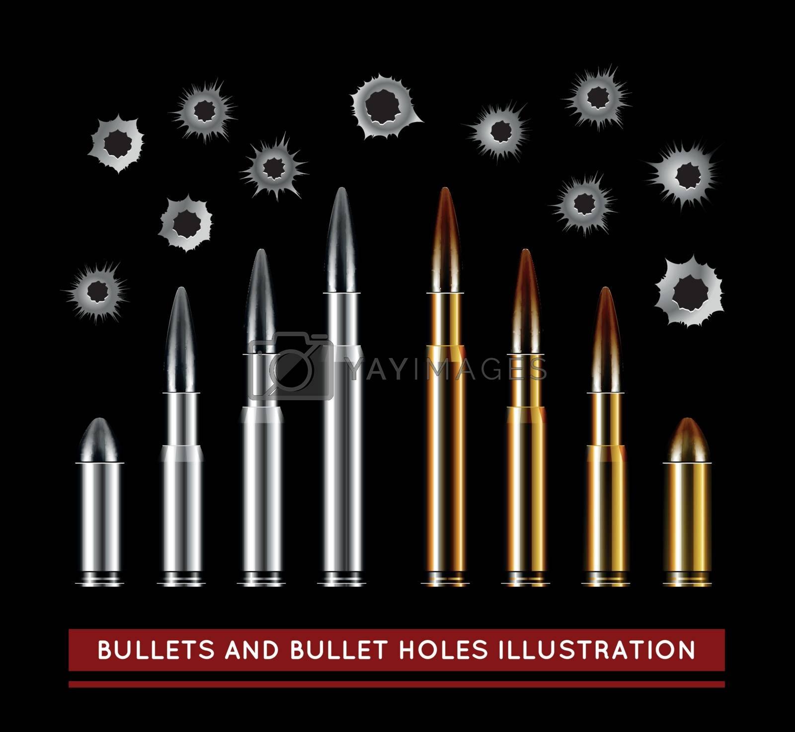 Bullets and bullet holes. Vector illustration on black background