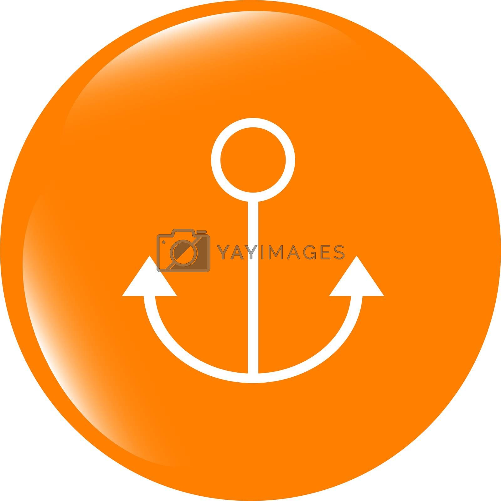sea anchor sign on web icon (button) isolated on white