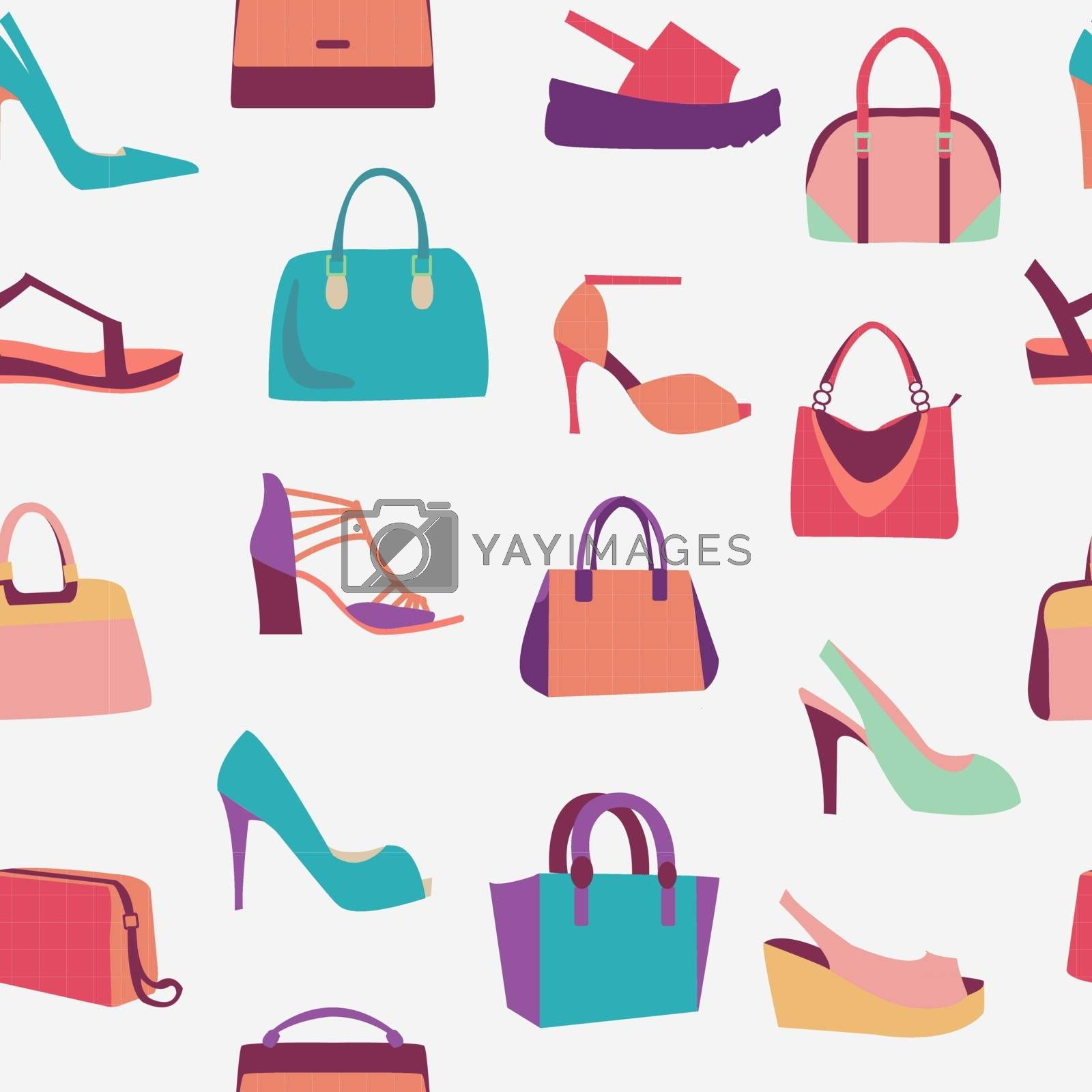 Collection of fashion Women bags handbags and High Heels shoes pattern in flat style