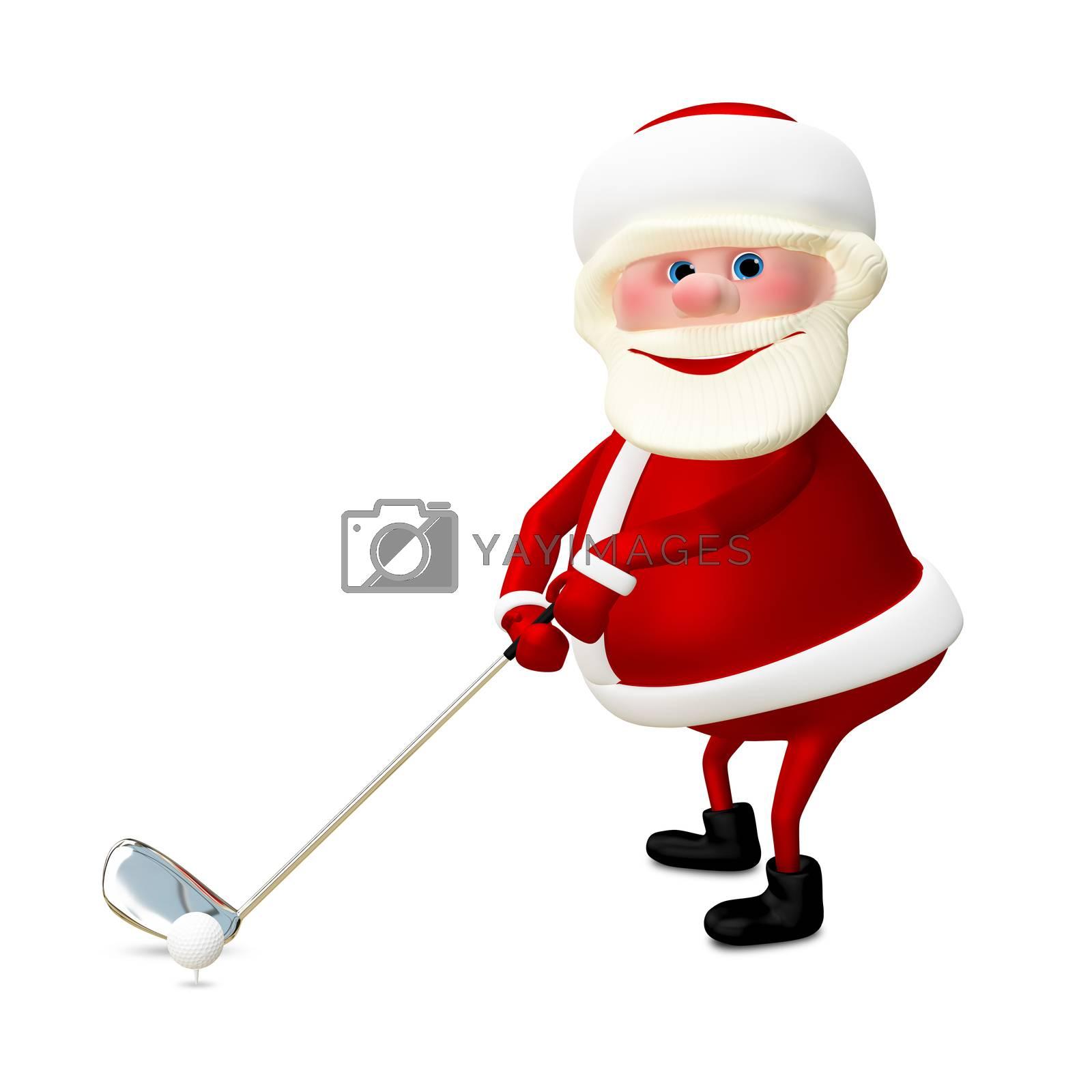 3D Illustration of Santa Claus Golfer on White Background