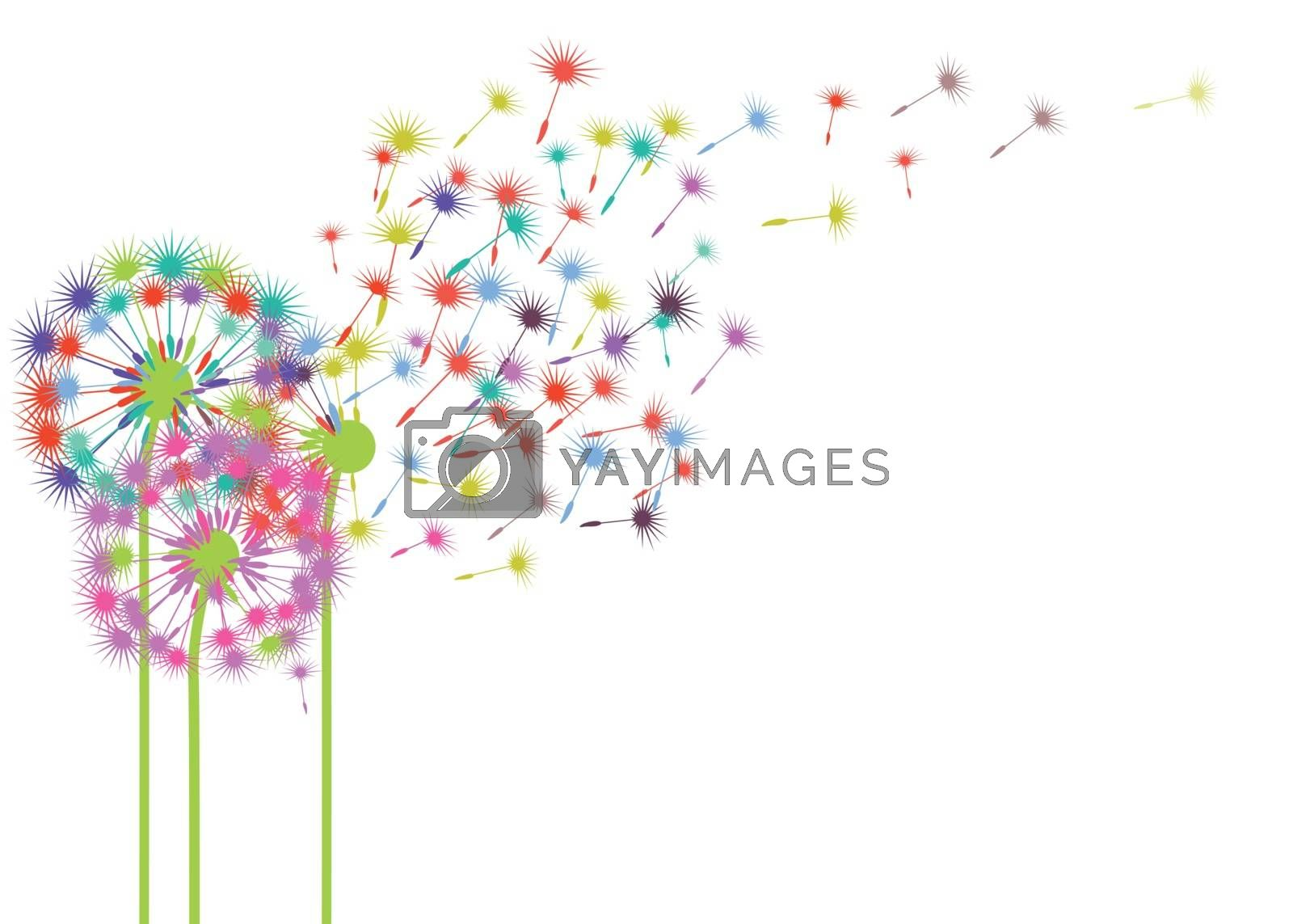 Dandelions in the wind illustration