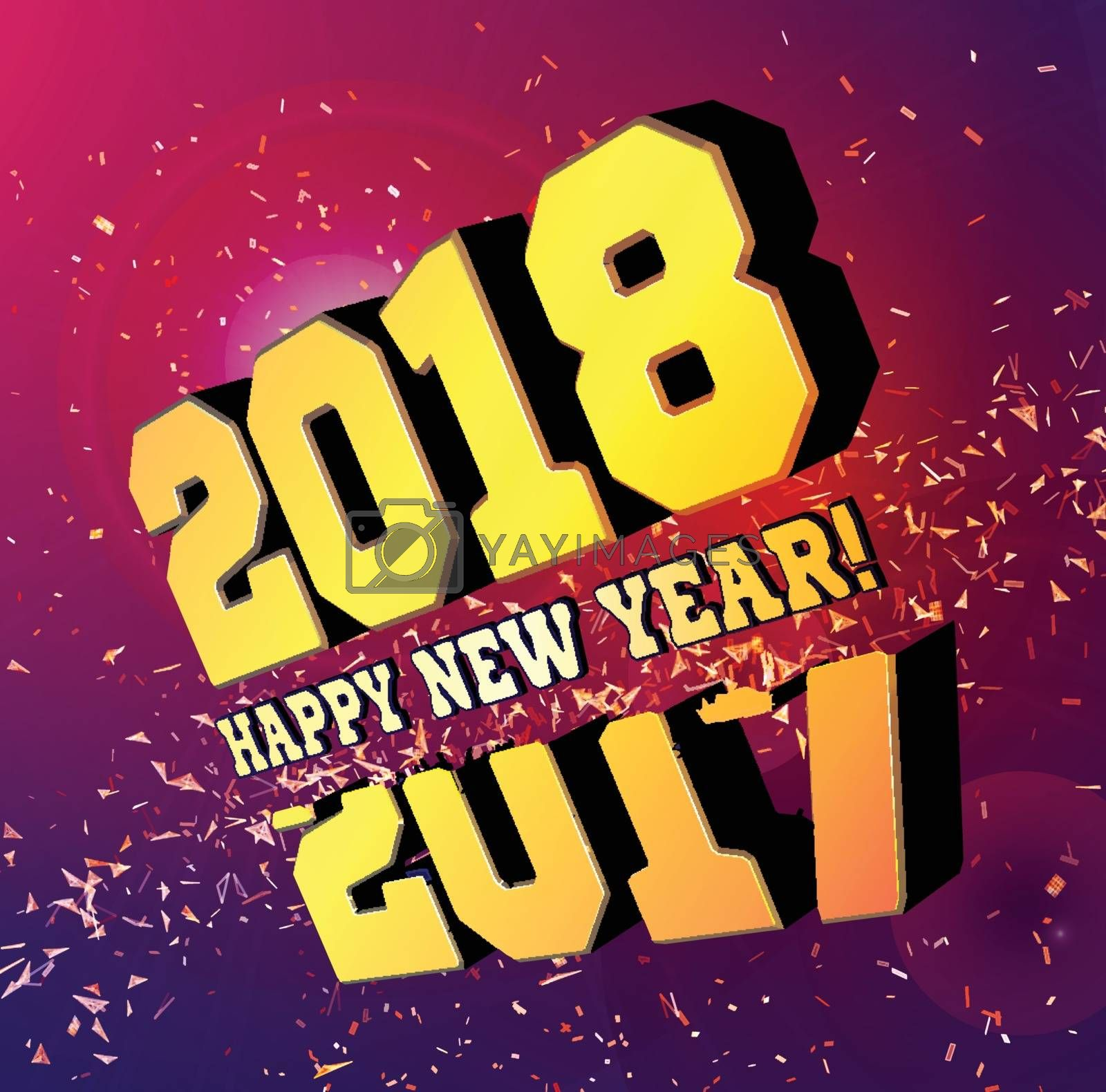 Congratulations on the New Year 2018, which goes after 2017. New Year's numbers with particles flying away from the explosion. Vector illustration