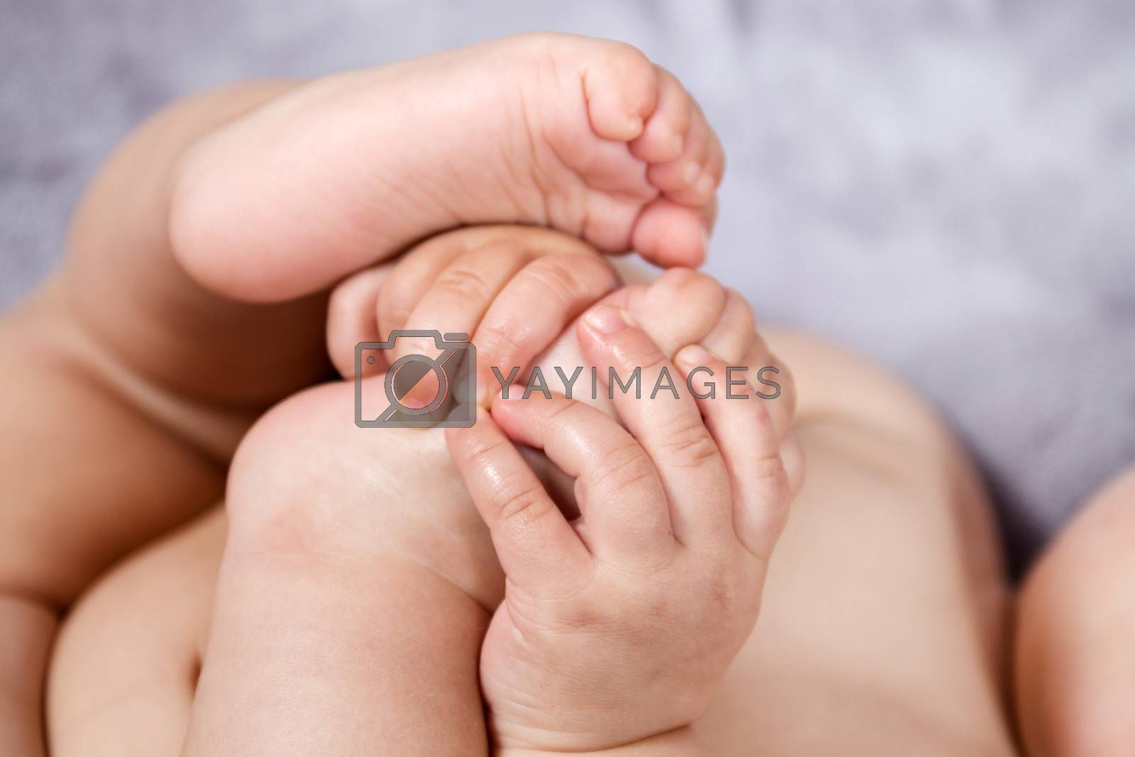 Close up of baby hands and feet of a newborn baby.