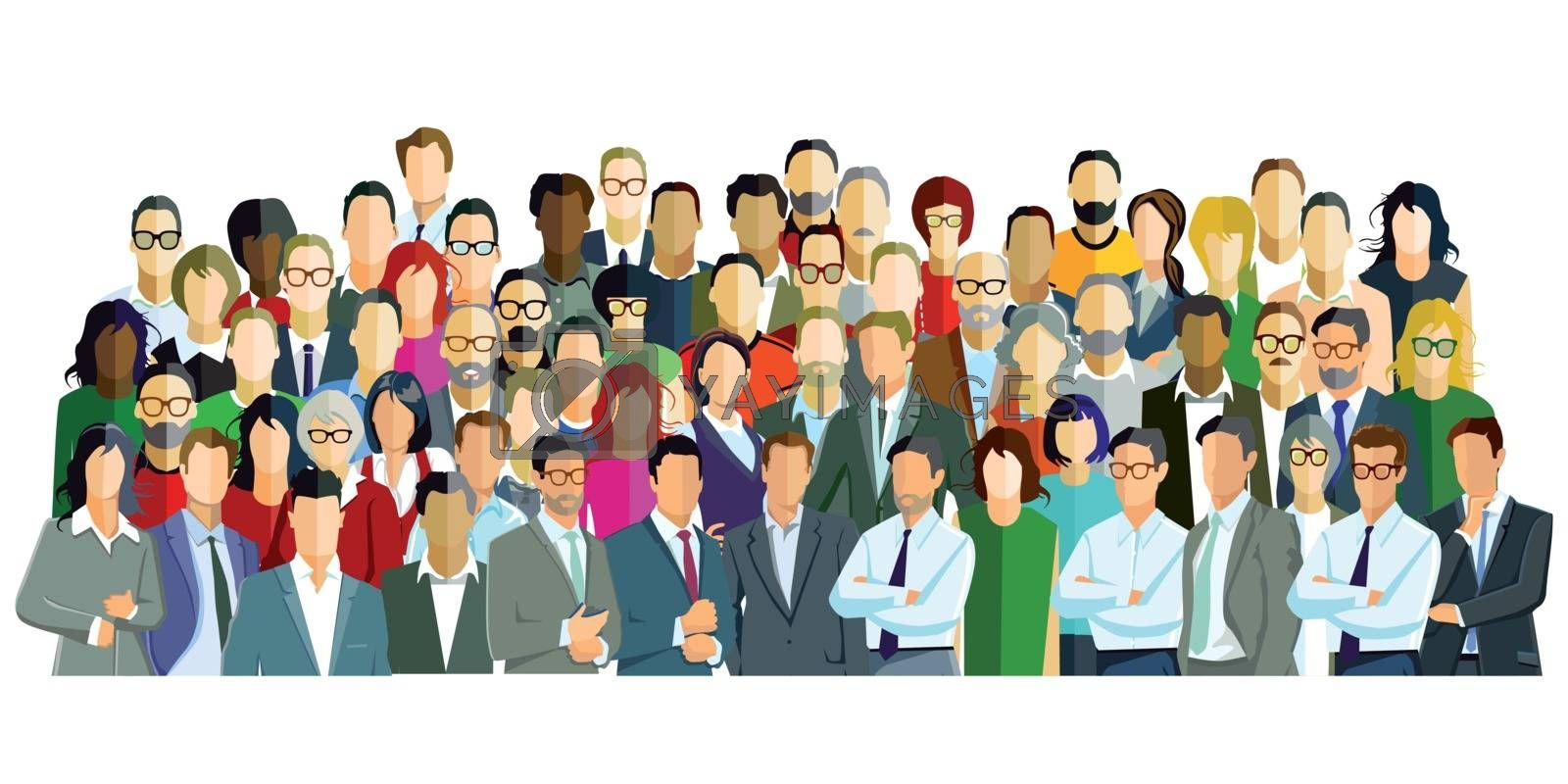 Group picture with different persons, Illustration