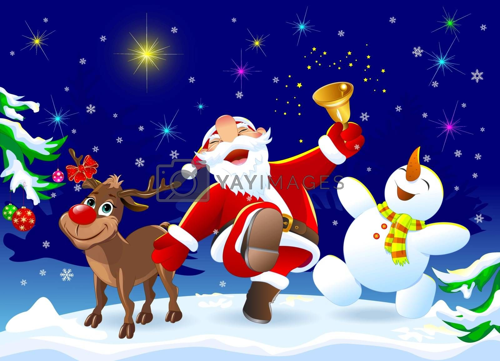 Santa Claus, deer Rudolph and snowman in the winter forest. Merry Santa Claus, deer and snowman are happy on Christmas night.