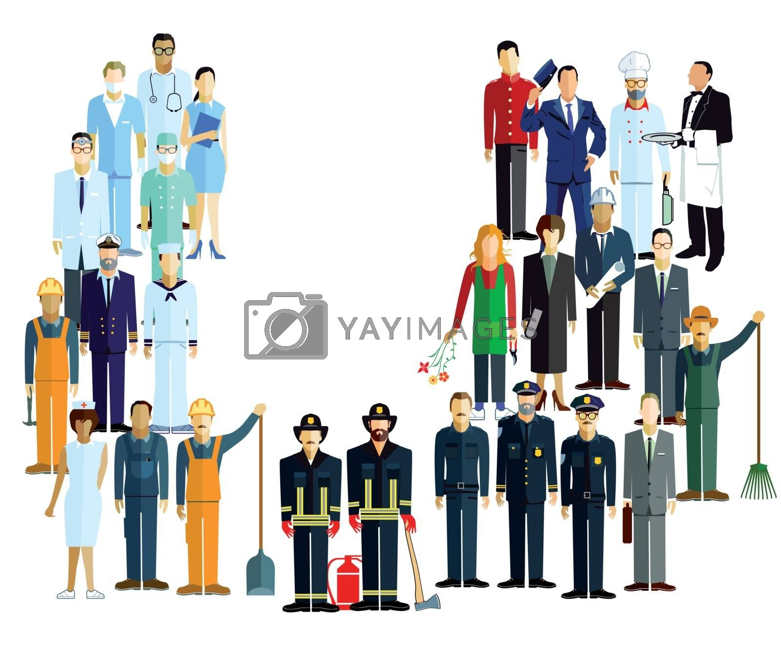 employees, workers, profession illustration