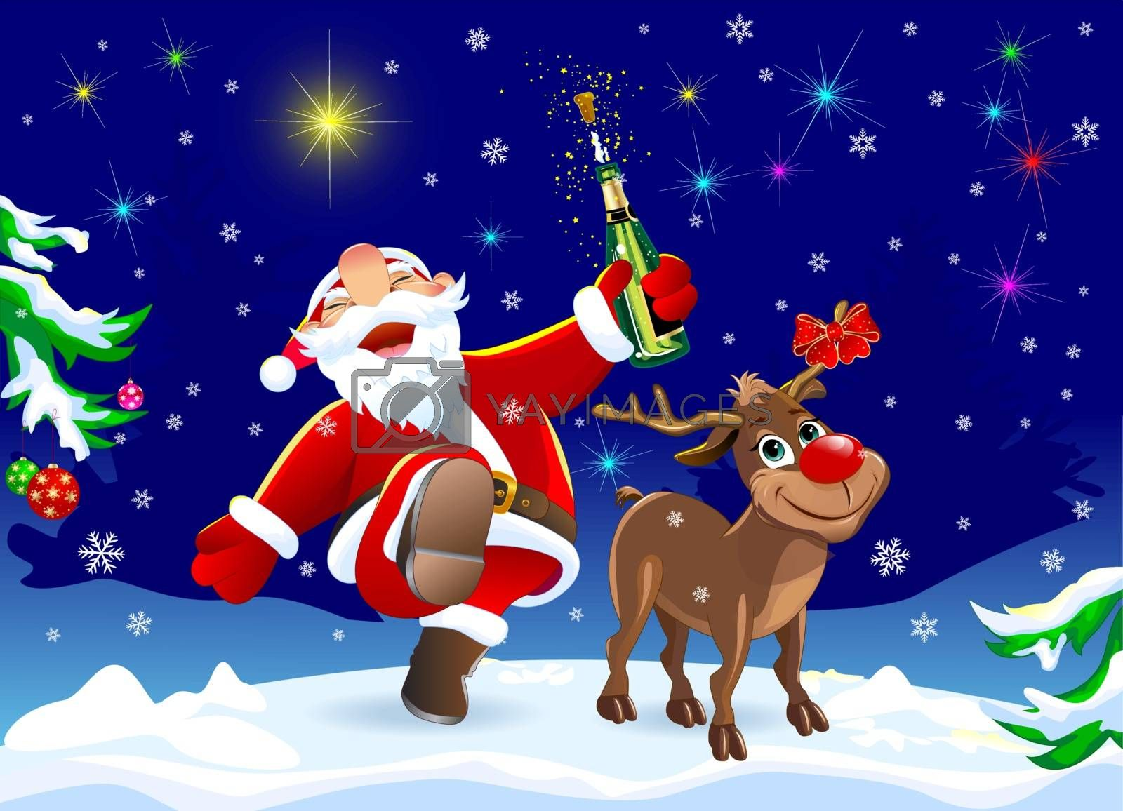 Santa Claus and deer in the winter forest. Merry Santa Claus and deer rejoice on Christmas Eve. Santa with a bottle of champagne. The radiance of the Christmas star.
