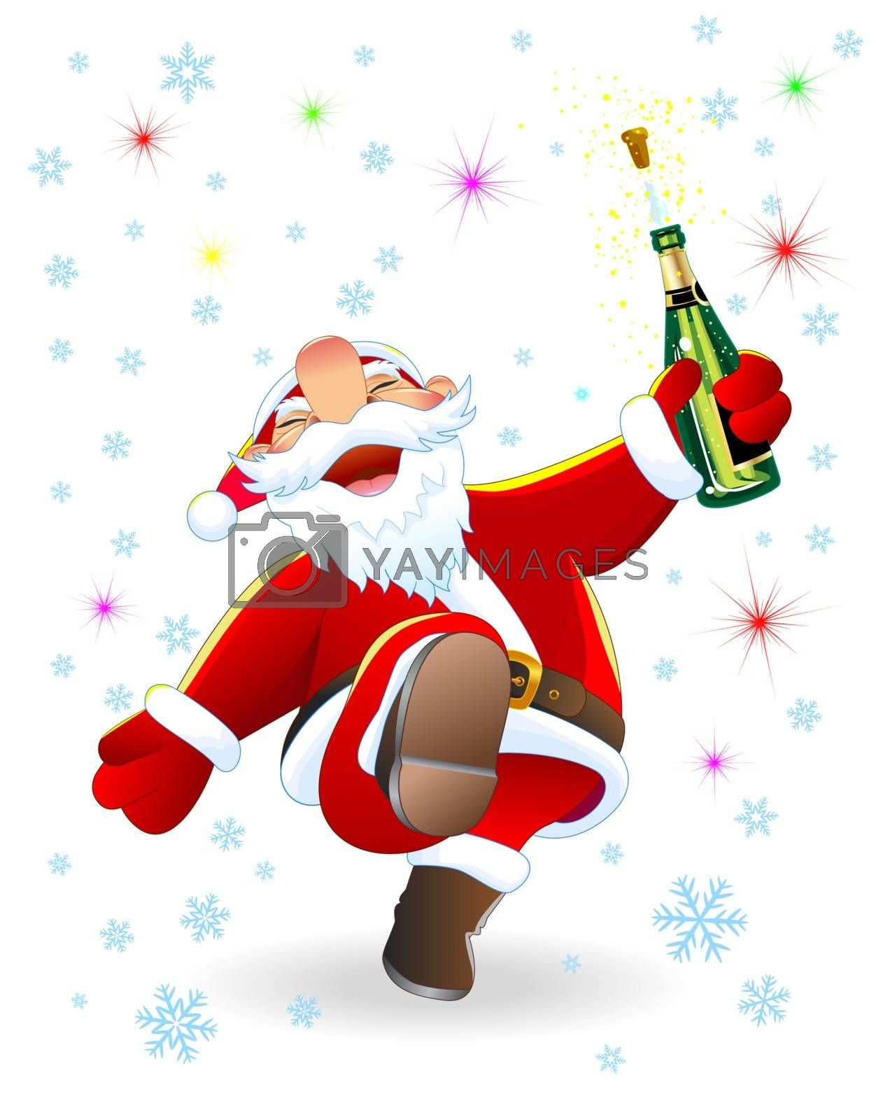 Joyful Santa with a bottle of champagne on the background of snowflakes and stars.