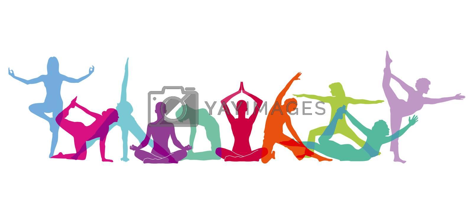 Yoga body figures composition