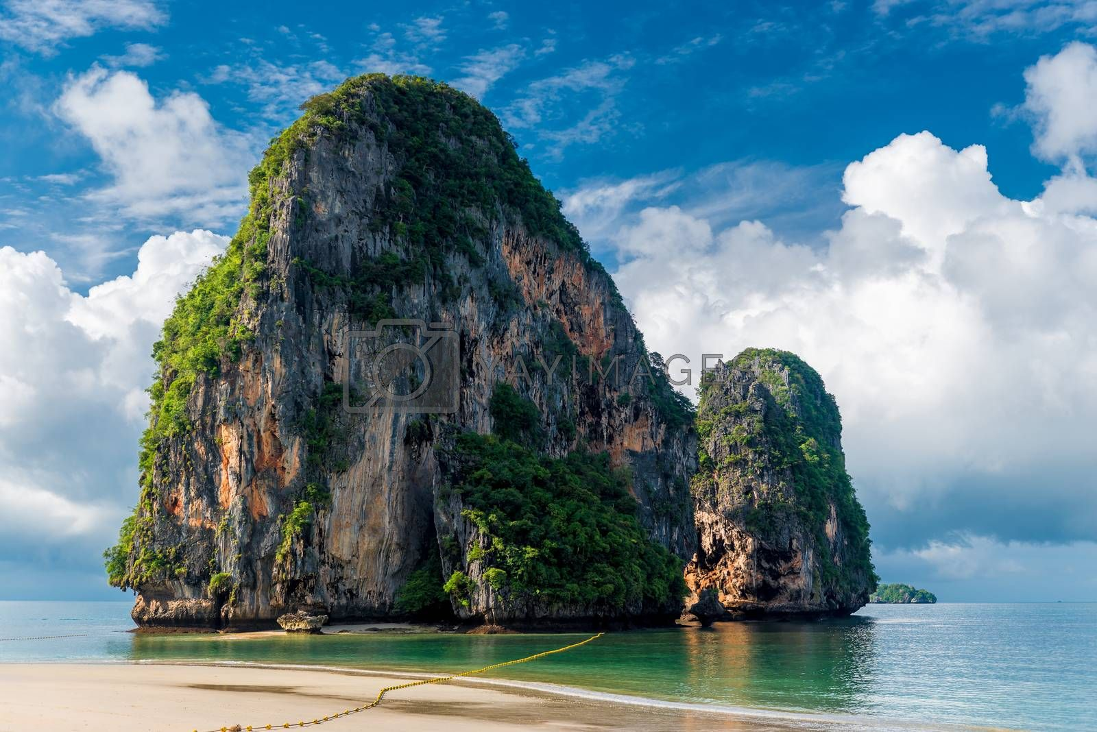 Beautiful high cliff in the sea at the resort of Thailand