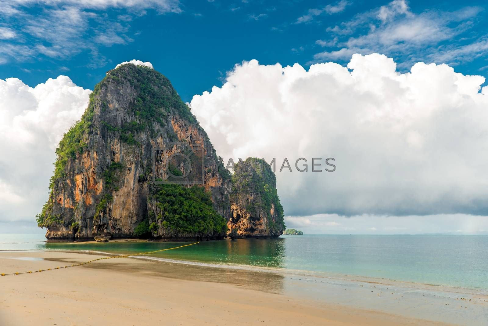 Dense rain clouds overhang the Andaman Sea in Thailand, a beautiful landscape