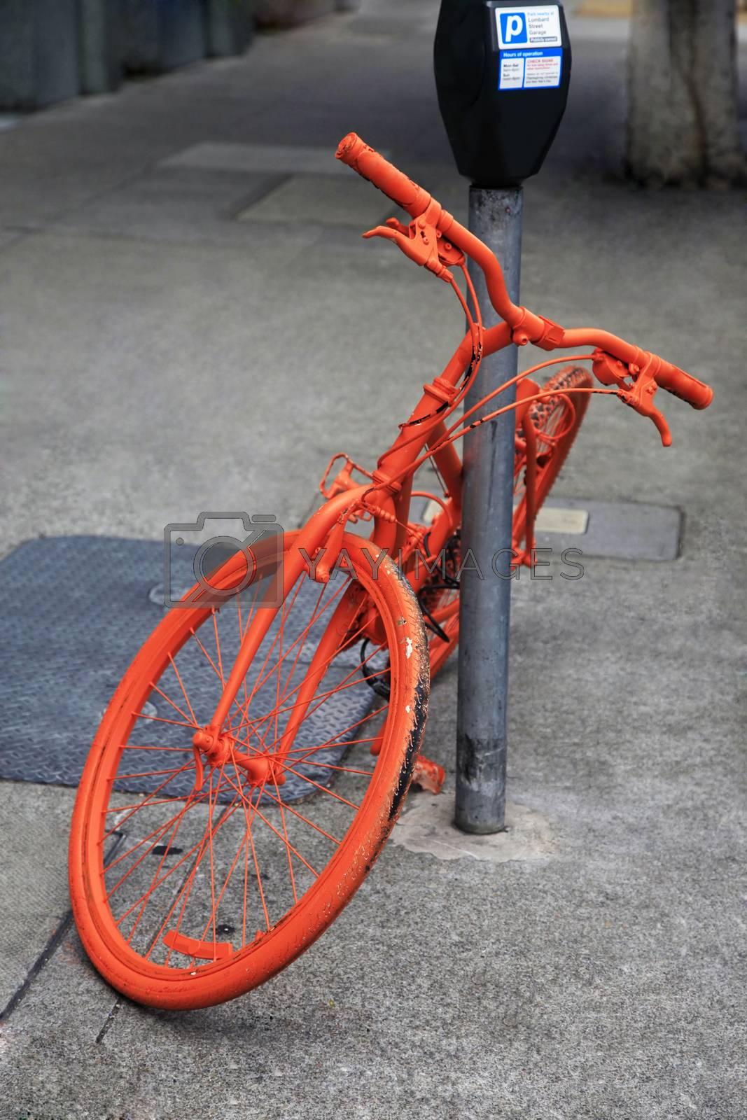 Parked orange bike in San Francisco