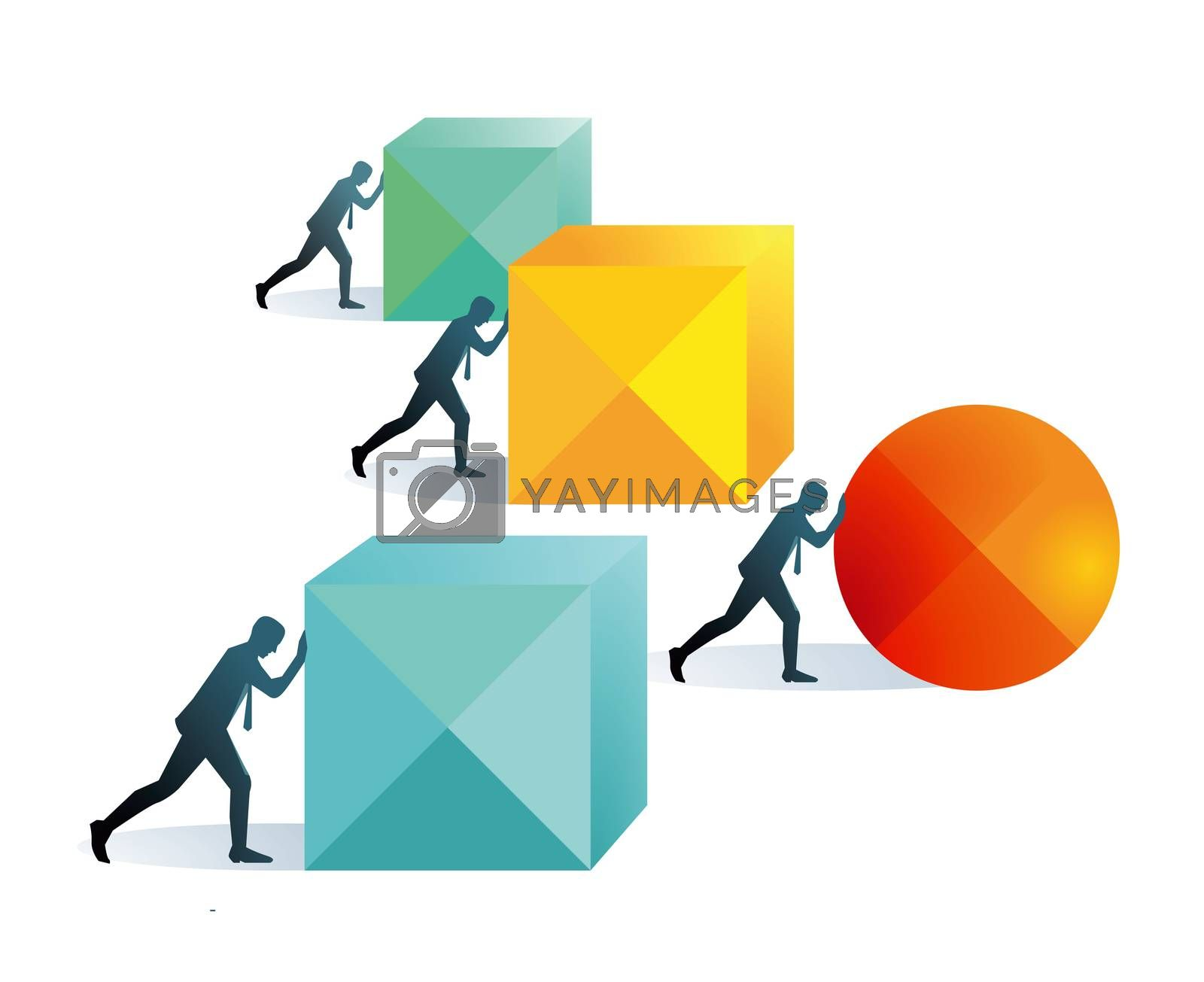 Pushing forward concept illustration,