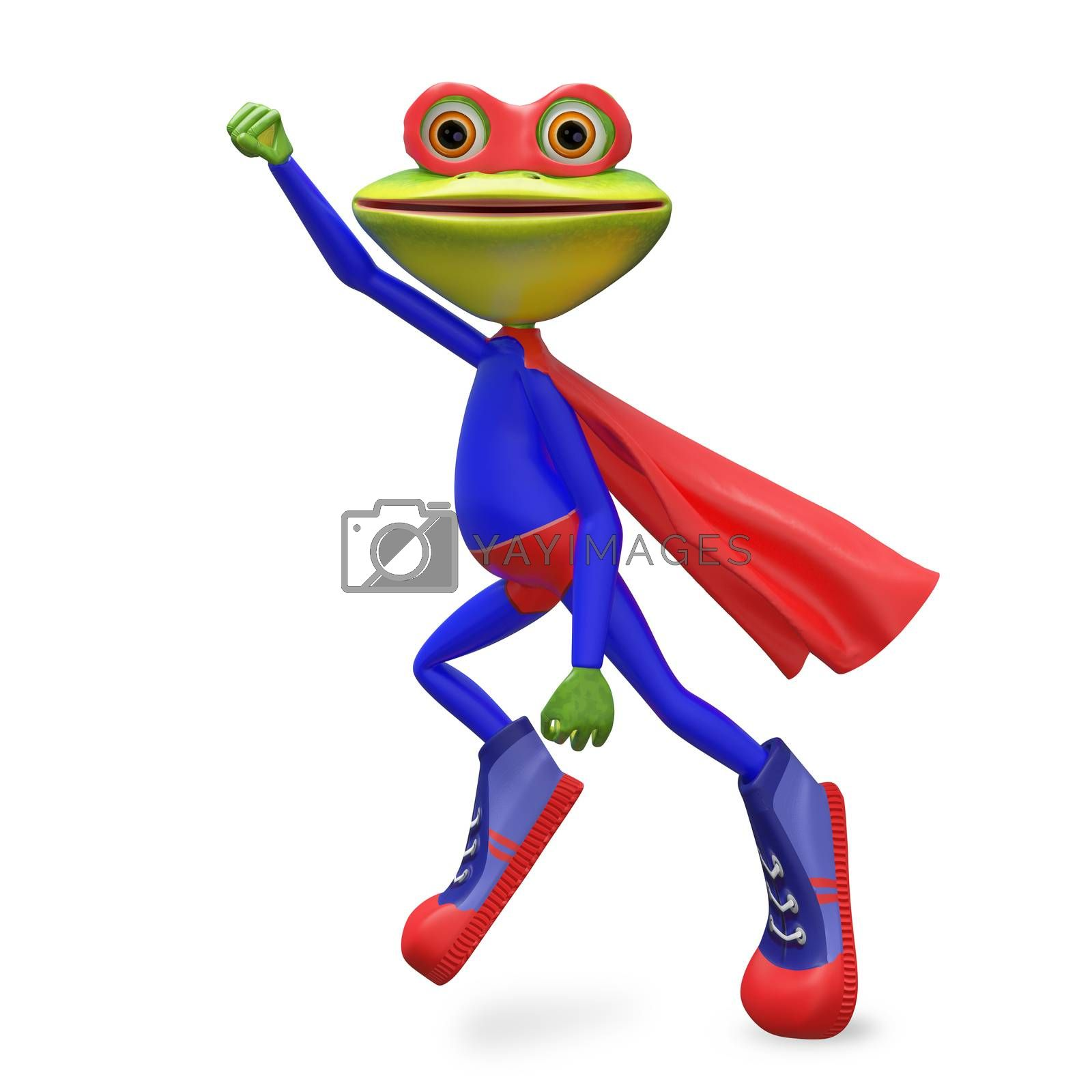 3D Illustration Merry Super Frog  on a White Background