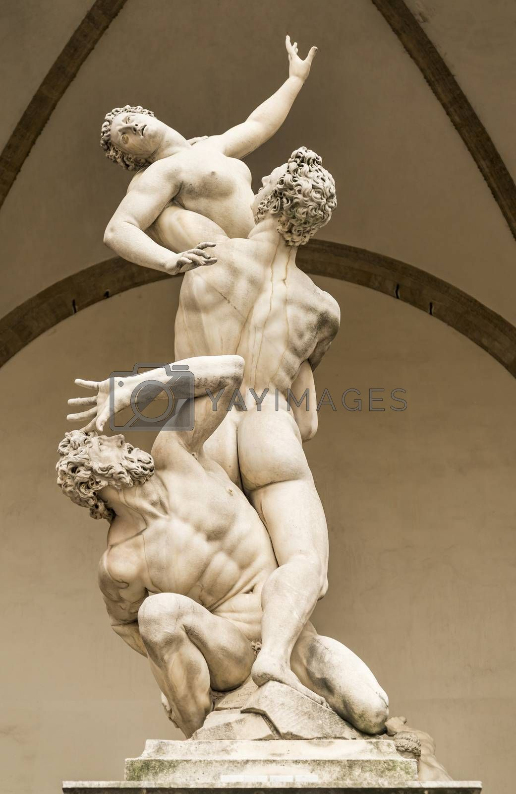 Statue of the rape of the Sabine women in Florence, Italy