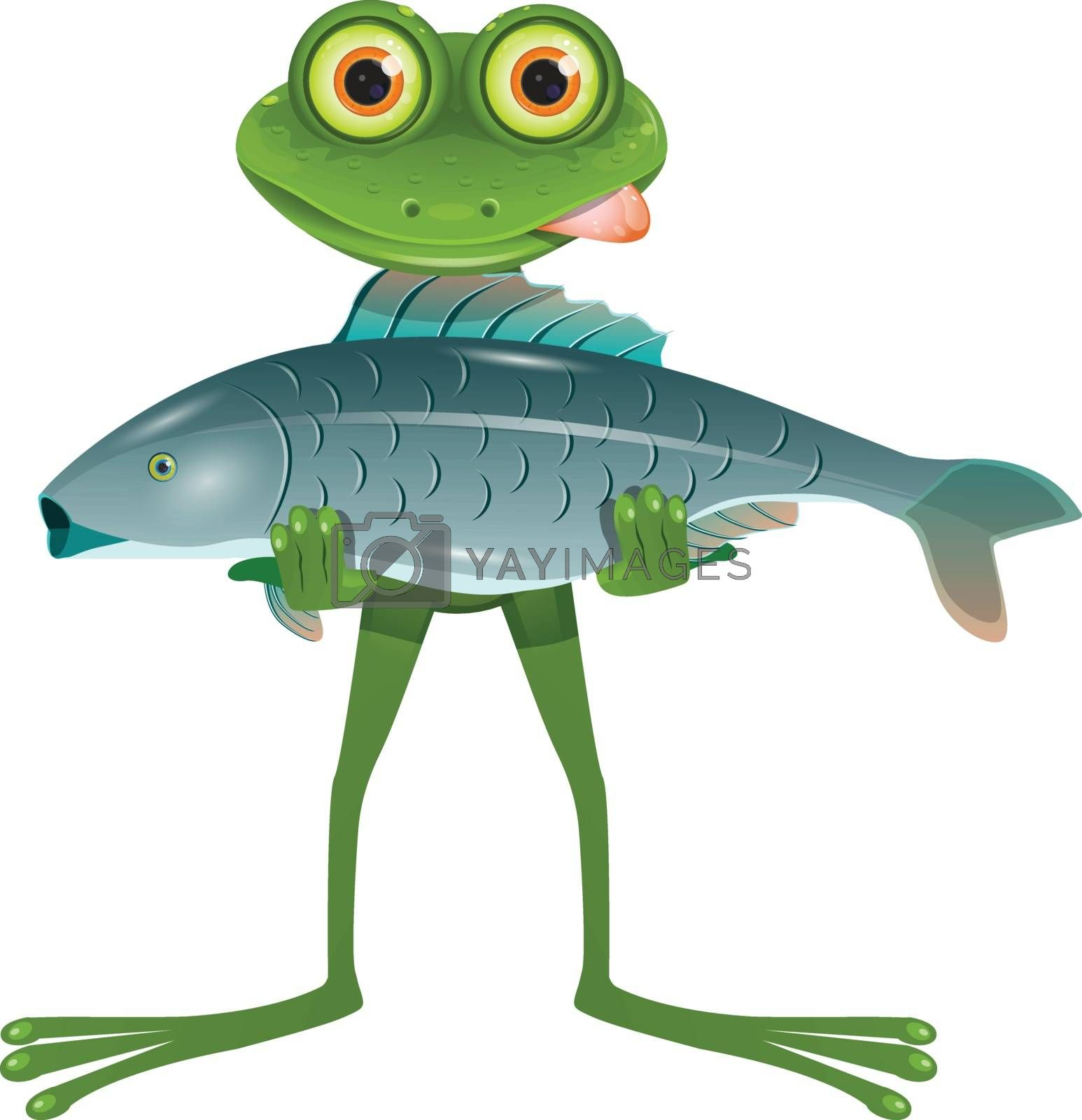 Illustration A Goggle-Eyed Frog with a Fish on a White Background