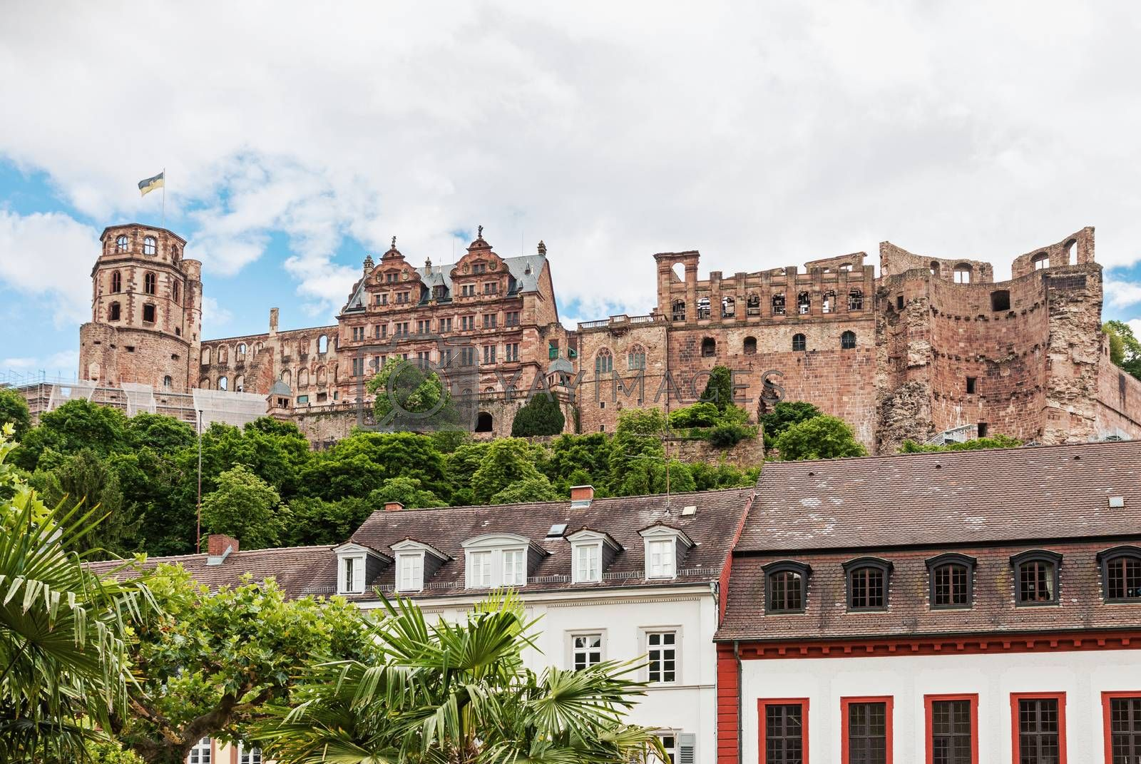 Renaissance Heidelberg castle on the hillside overlooking Heidelberg town in Germany