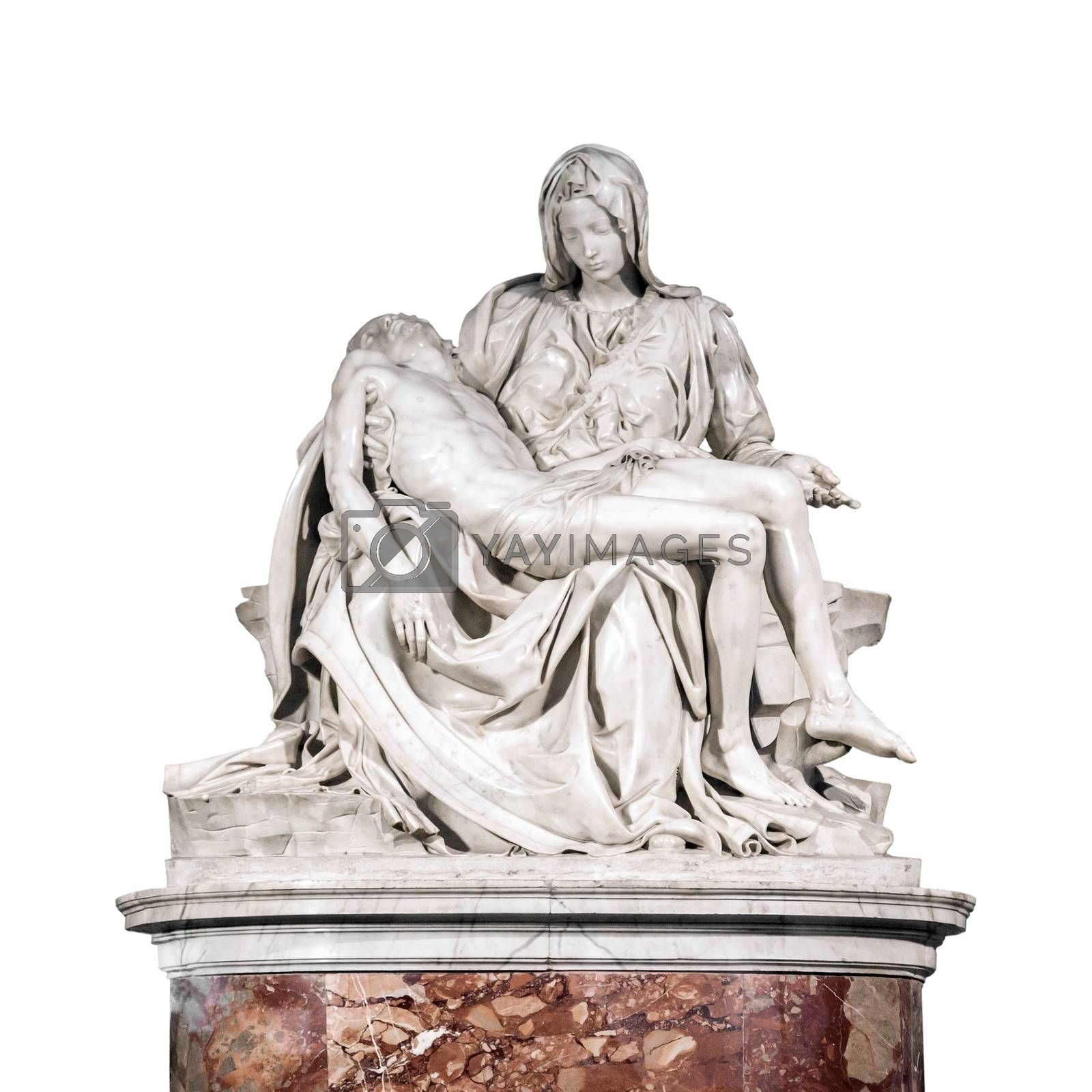 The Pieta, a work of Renaissance sculpture by Michelangelo Buonarroti isolated on white background. Famous work of art depicts the body of Jesus on the lap of his mother Mary after the Crucifixion