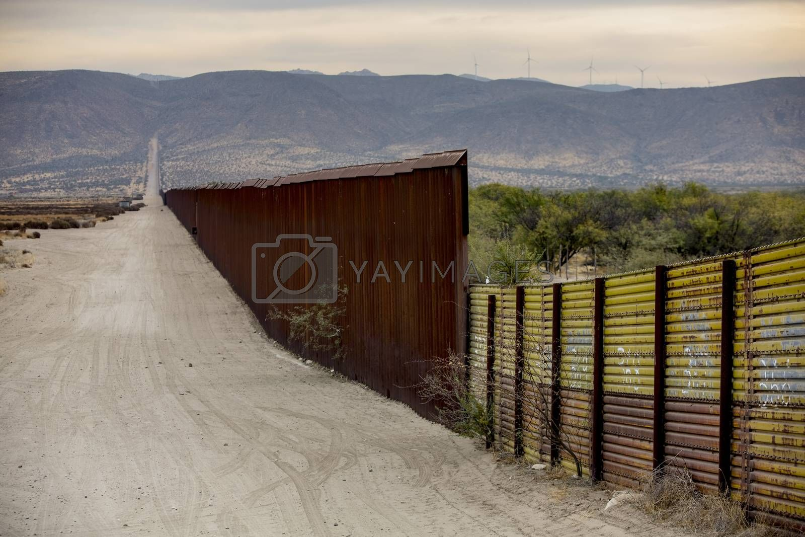 A lengthy section of the United States border wall with Mexico in California