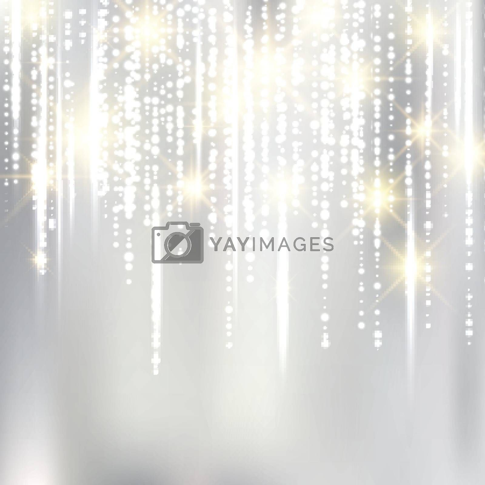 Abstract elegant christmas silver fabric background with gold glitter. Vector Illustration.