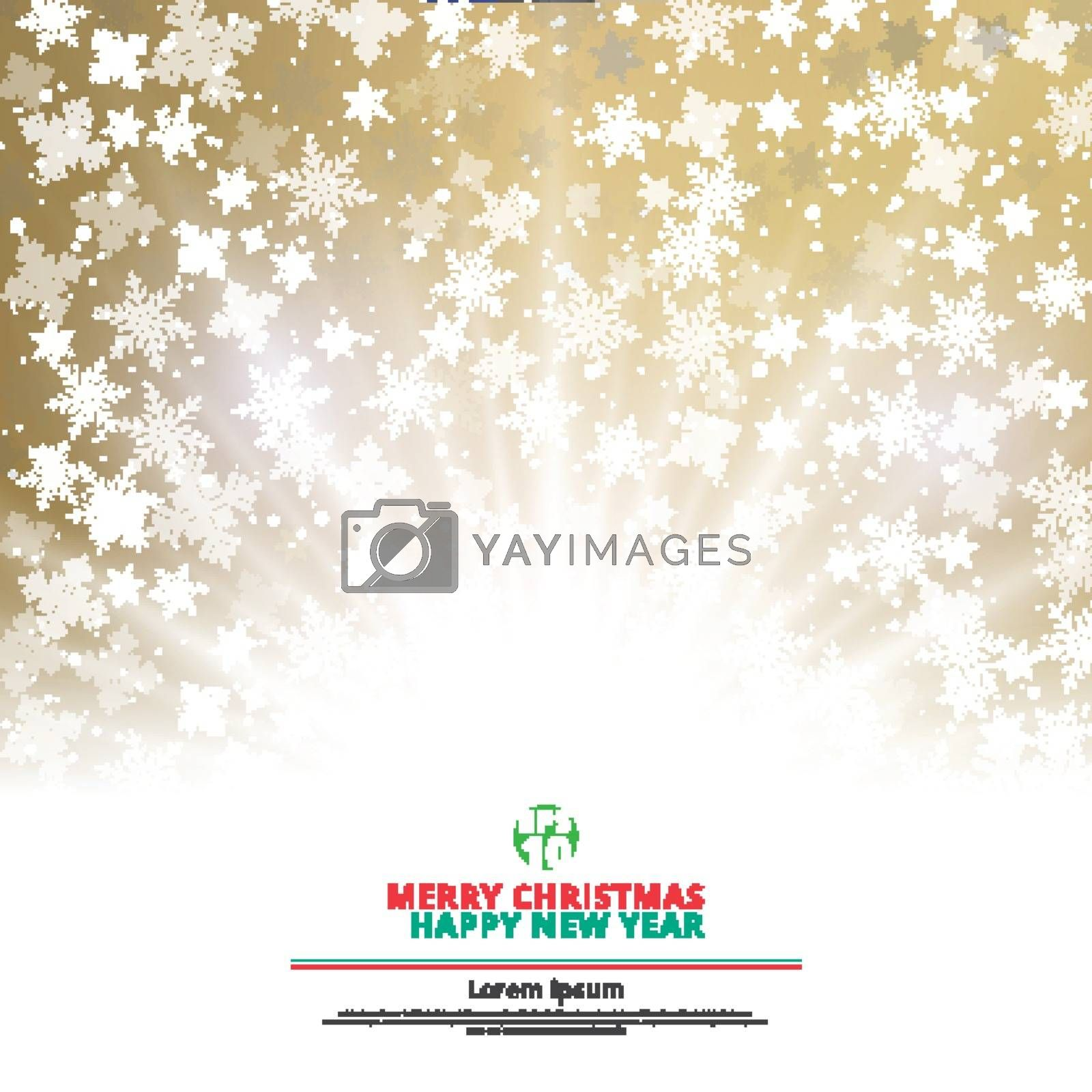Winter gold background christmas made of snowflakes and snow with lighting blank copy space for your text, Vector illustration