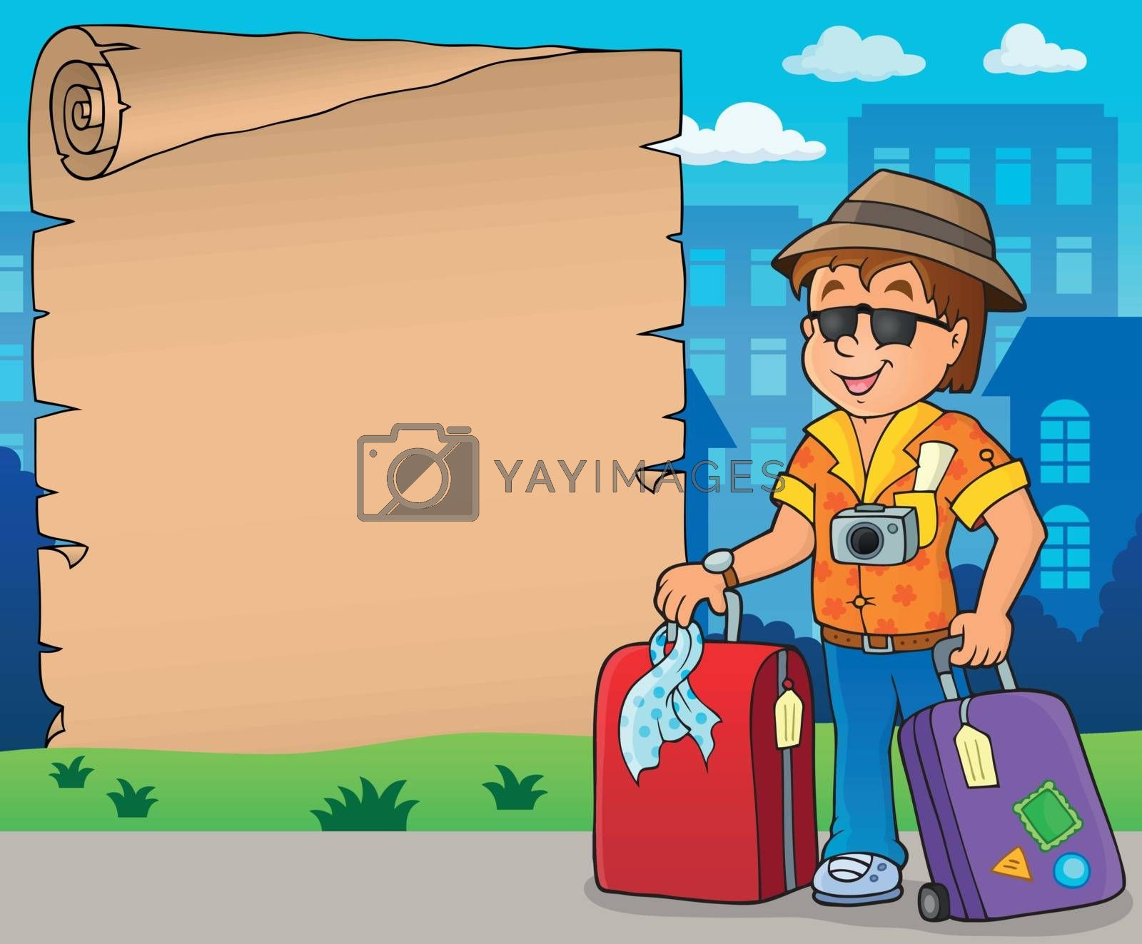 Parchment with travel theme 8 - eps10 vector illustration.