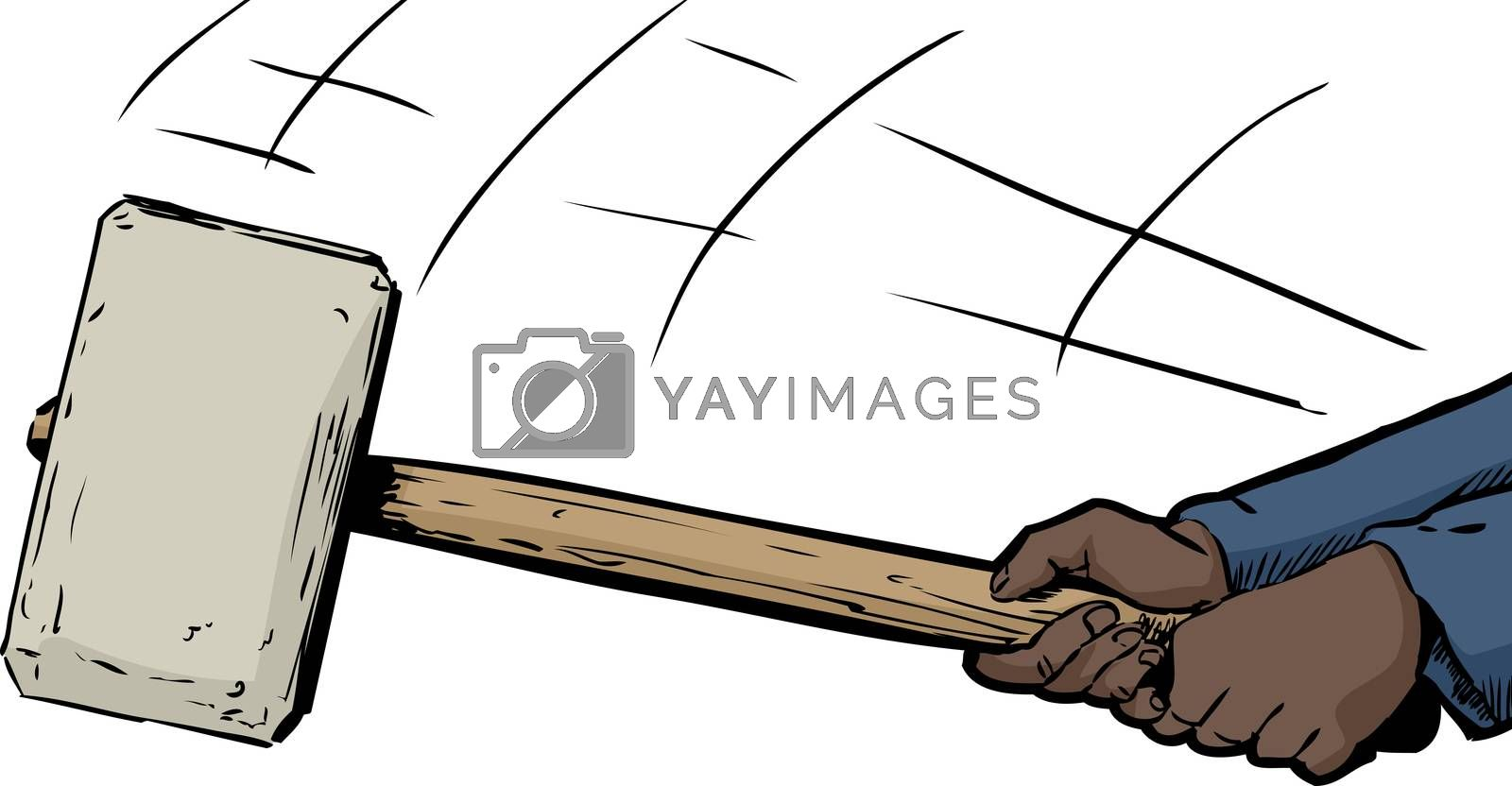 Pair of hands wielding a large sledge hammer over white