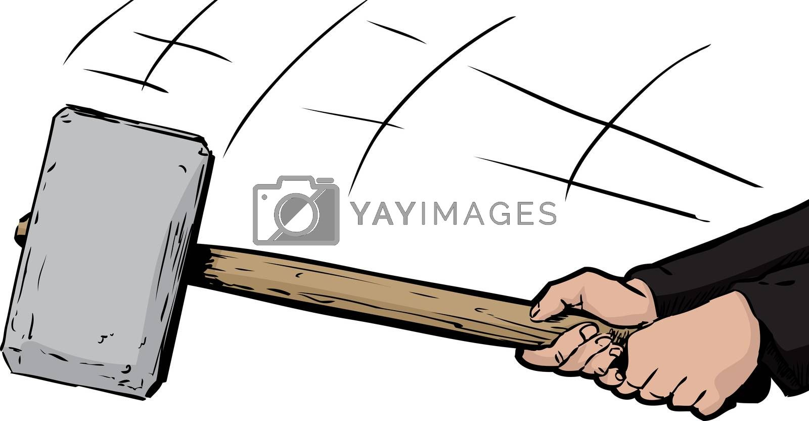 Unidentifiable person swinging a large sledge hammer over white